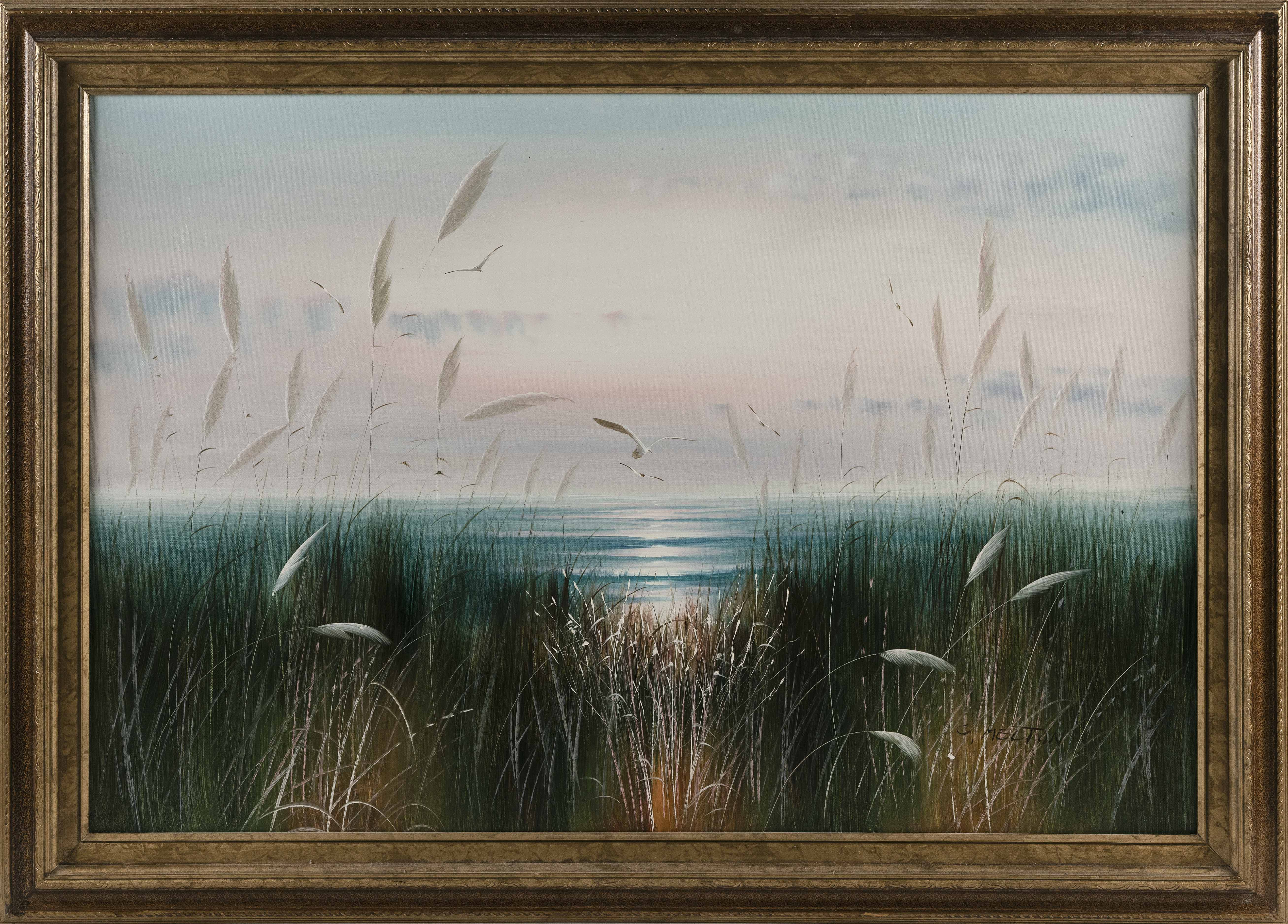 C. MELTON (America, Contemporary), Gulls soaring over the ocean., Oil on canvas, 24