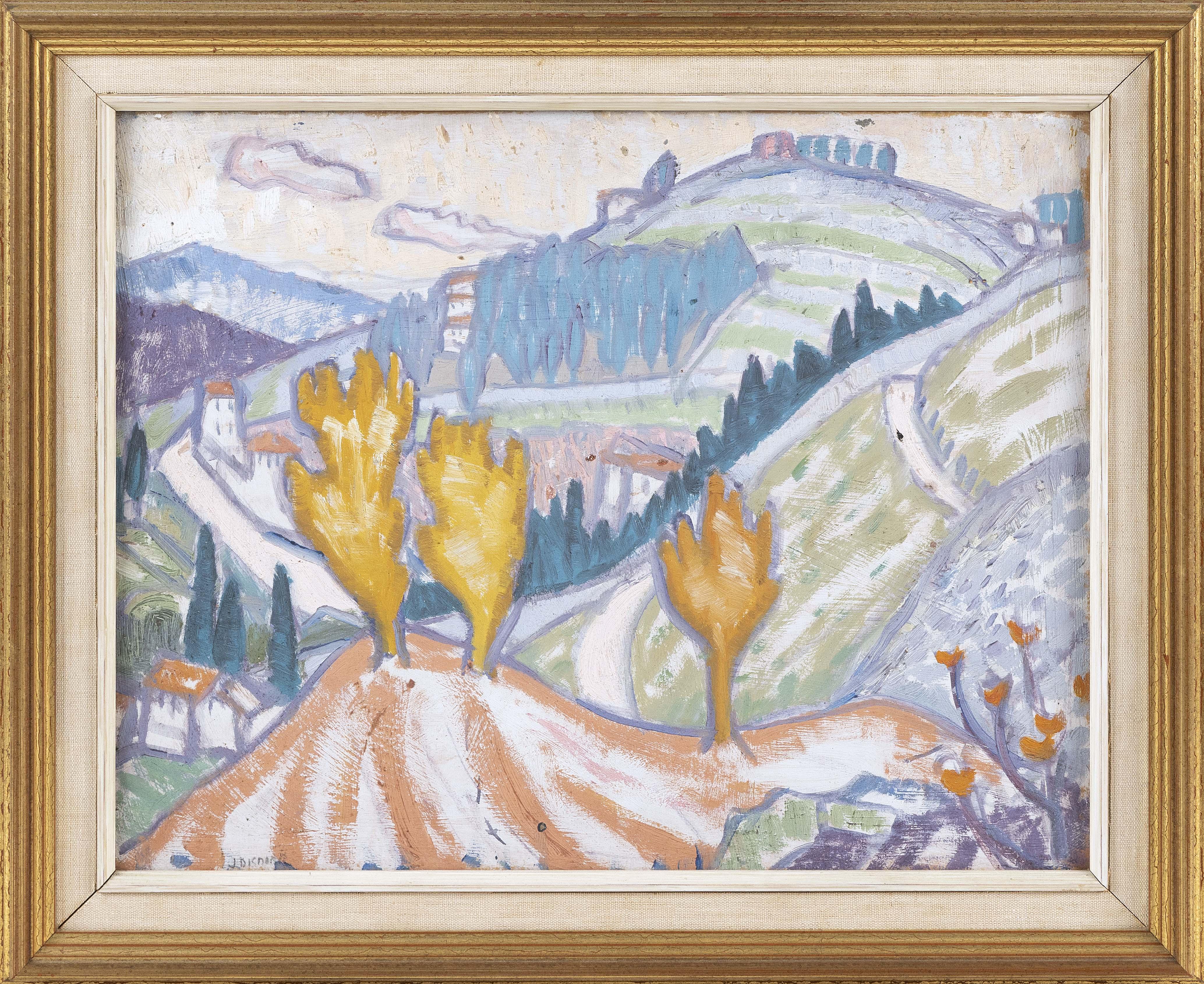 """JESSICA DISMORR (England, 1885-1939), Landscape, Oil on panel. 12.5"""" x16"""". Framed, 16.25"""" x 19.5"""""""