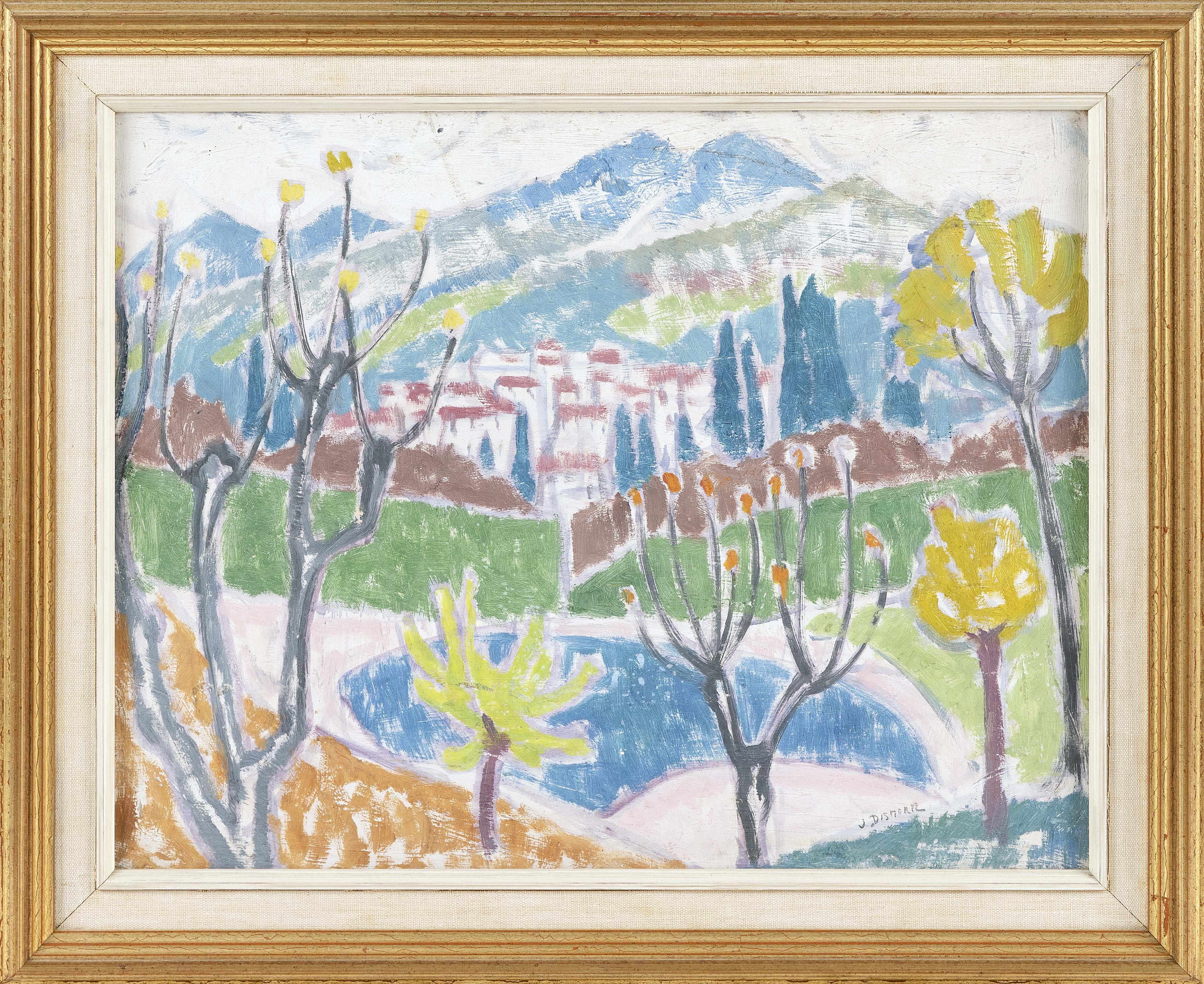"""JESSICA DISMORR (England, 1885-1939), """"In the Alpes Maritimes, France"""", Oil on board. 12.5"""" x 16"""". Framed, 16"""" x 19.5""""."""
