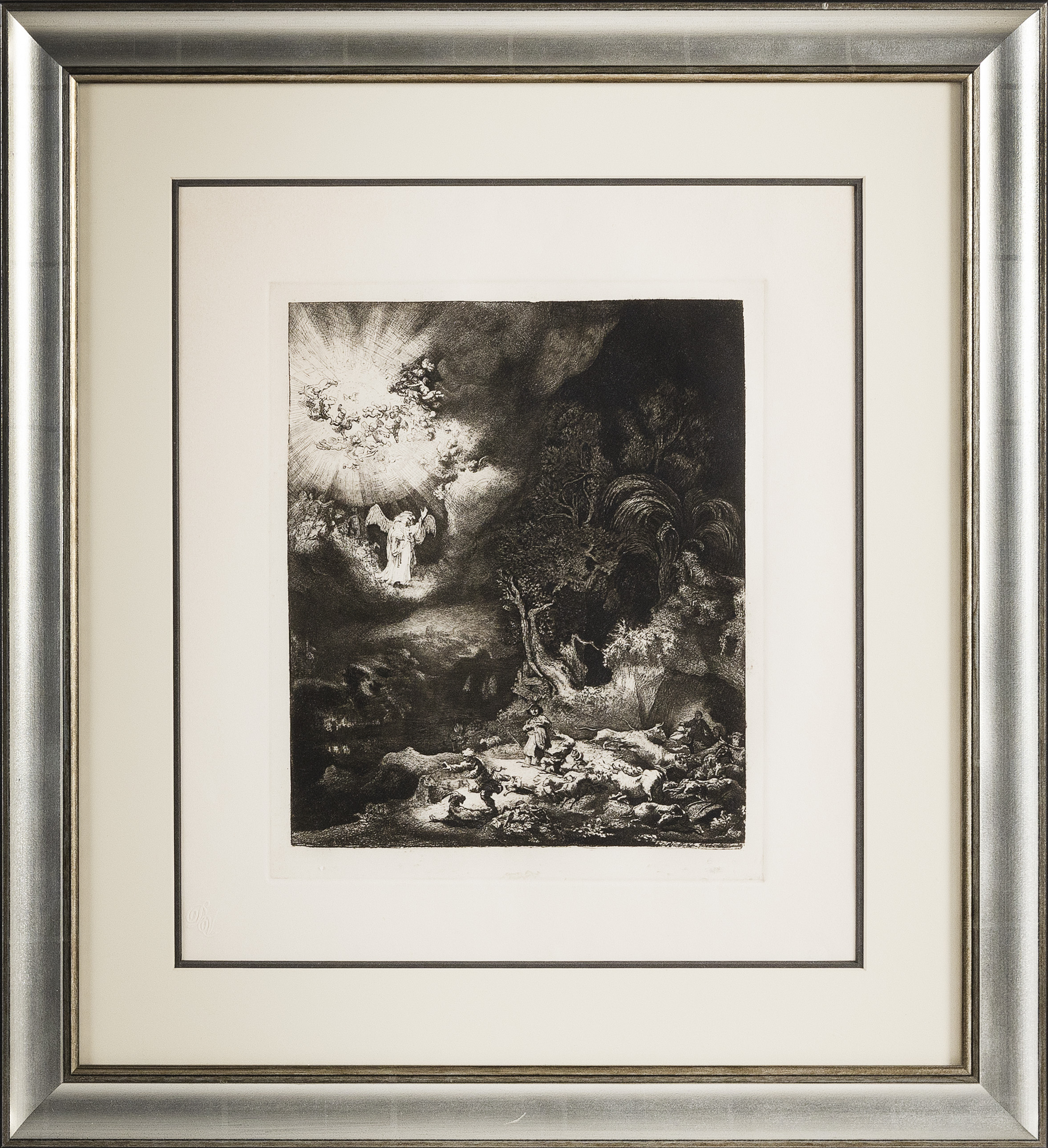"""AMAND-DURAND HELIOGRAVURE AFTER REMBRANDT'S """"ANGEL APPEARING TO THE SHEPHERDS"""" Plate 285mm x 235mm. Framed 21.5"""" x 19.5""""."""