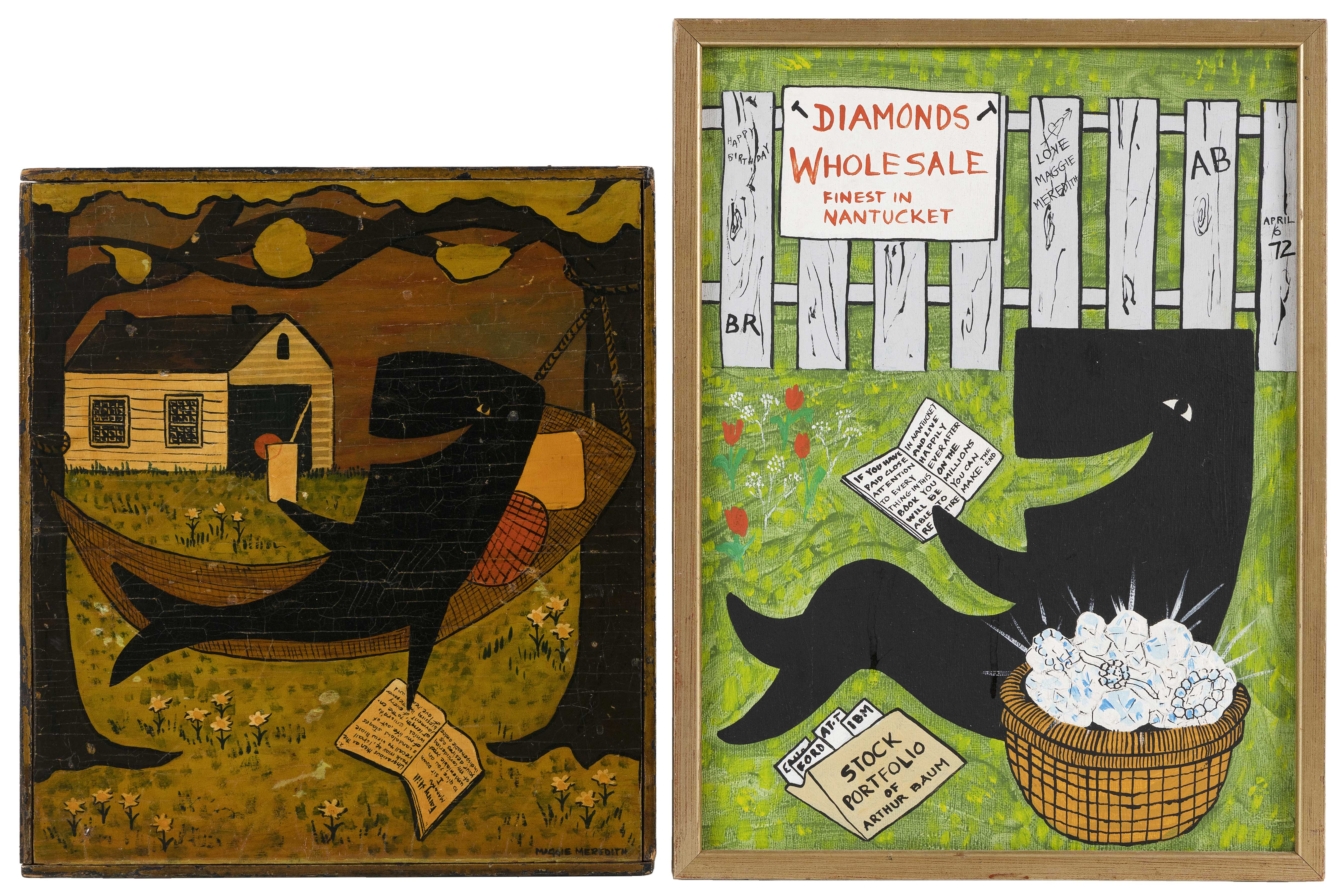 MAGGIE MEREDITH (Nantucket, Massachusetts, 1922-2012), Two paintings of whales