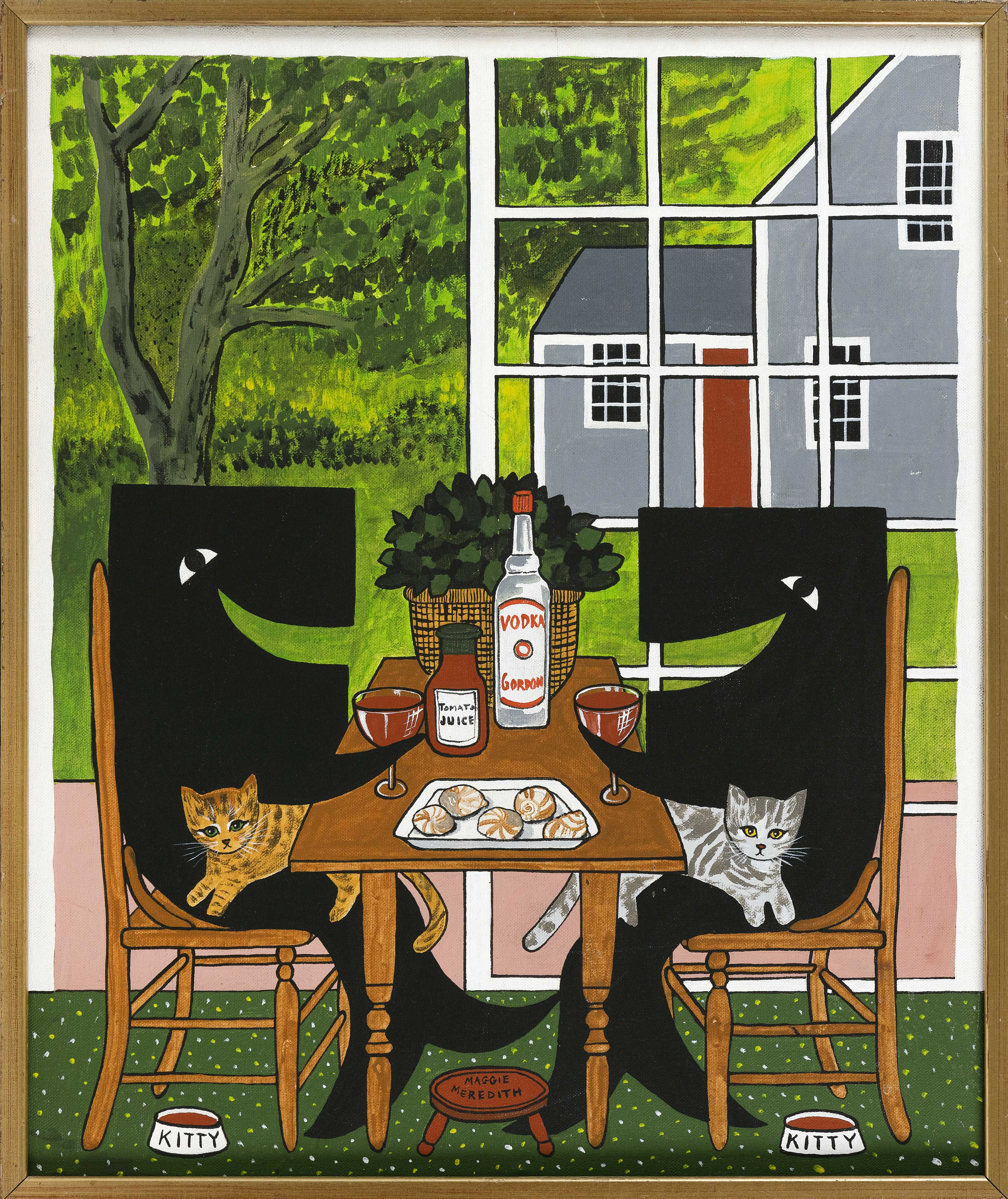 """MAGGIE MEREDITH (Nantucket, Massachusetts, 1922-2012), Whales with cats having bloody Marys and oysters, Oil on canvas, 24"""" x 20"""". Framed 24.75"""" x 20.75""""."""