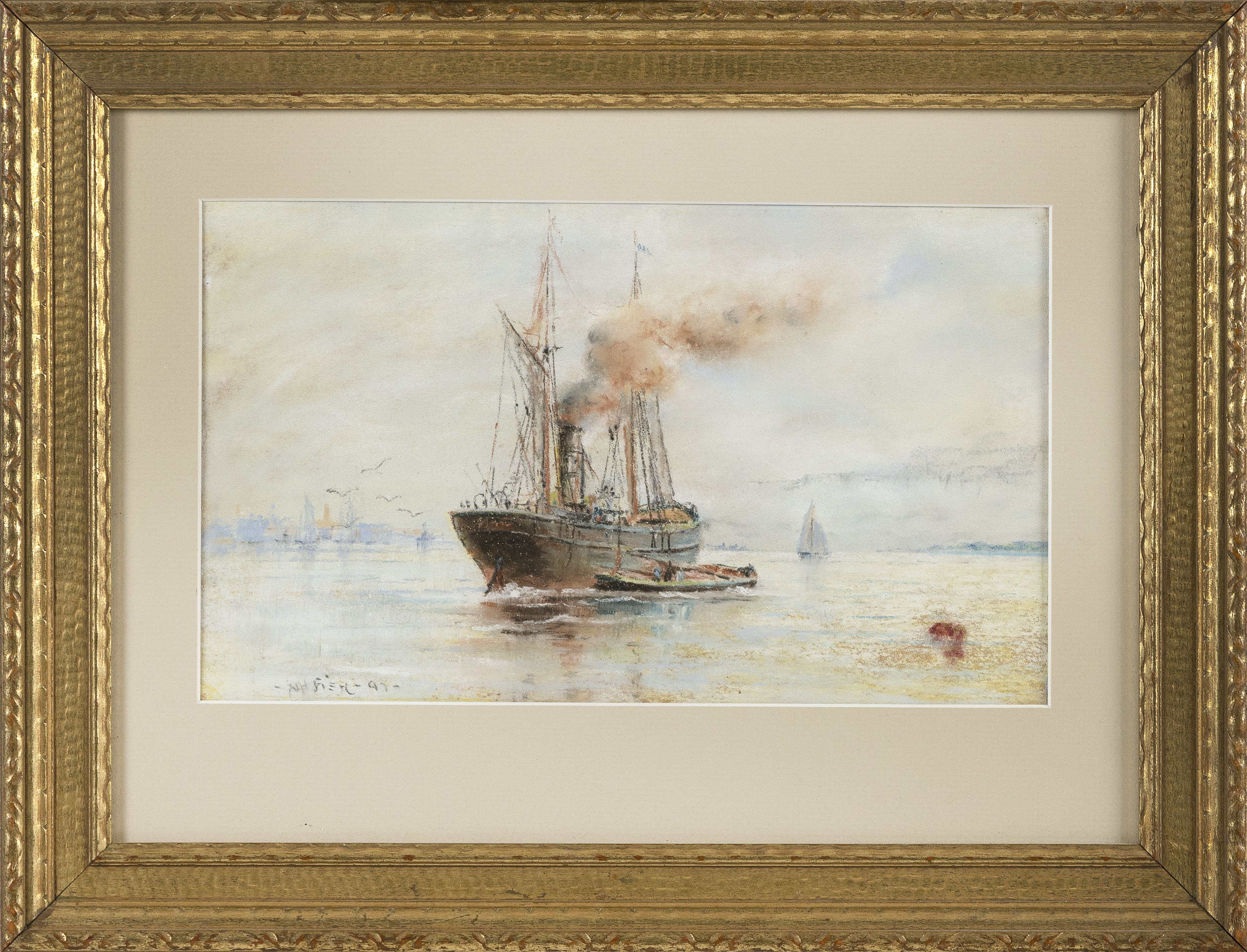 """MARITIME PAINTING OF A STEAM AND SAIL FRIGATE Late 19th Century Pastel on paper, 6.75"""" x 11.5"""" sight. Framed 13"""" x 17""""."""