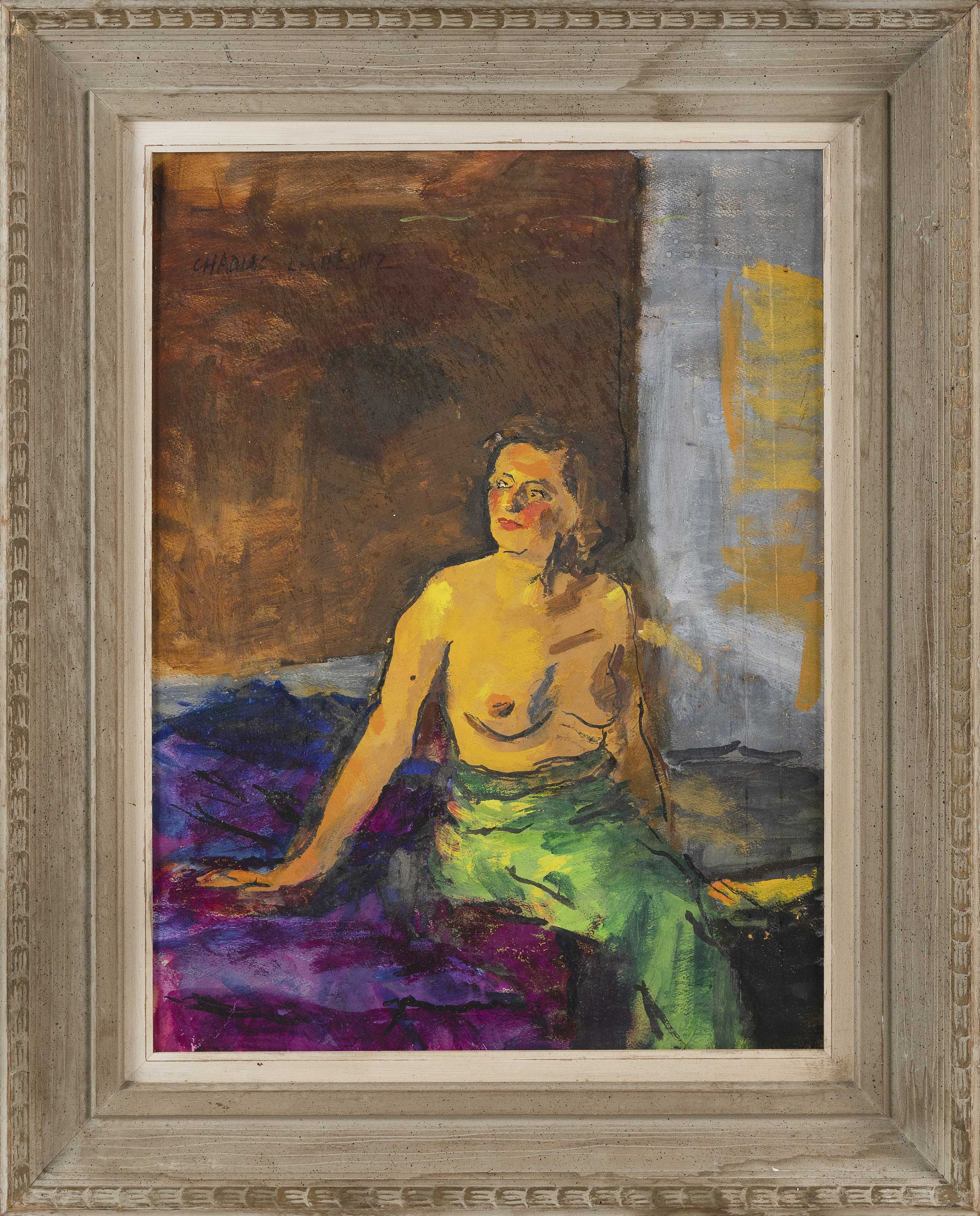 """CHARLES L. HEINZ (Illinois/Massachusetts, 1884-1953), Portrait of a partially nude woman seated on a bed., Oil on paper, 17.5"""" x 11.5"""". Framed 31"""" x 25""""."""