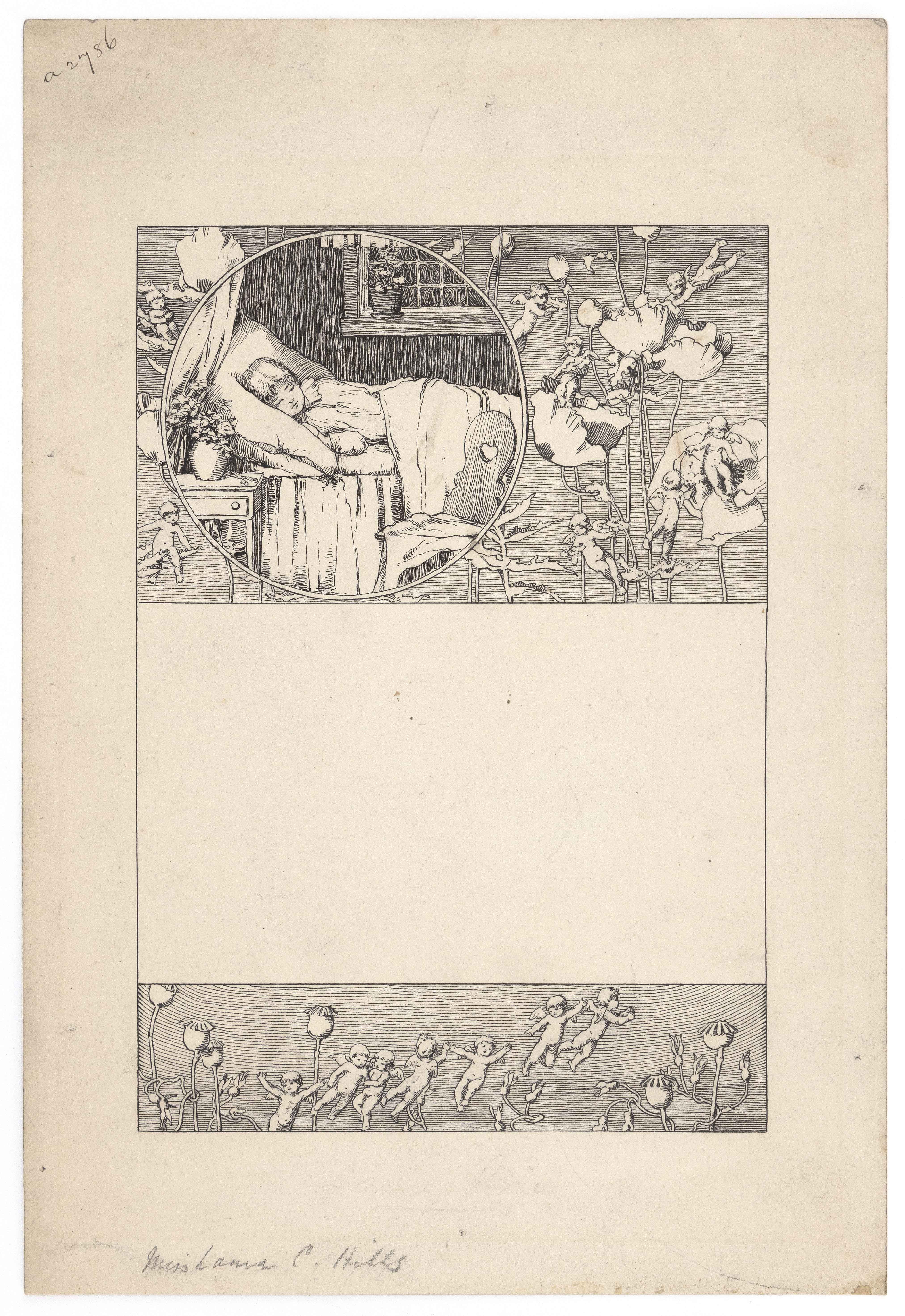 LAURA COOMBS HILLS (Massachusetts, 1859-1952), Study for a children's book restoration., Ink on paper, 11