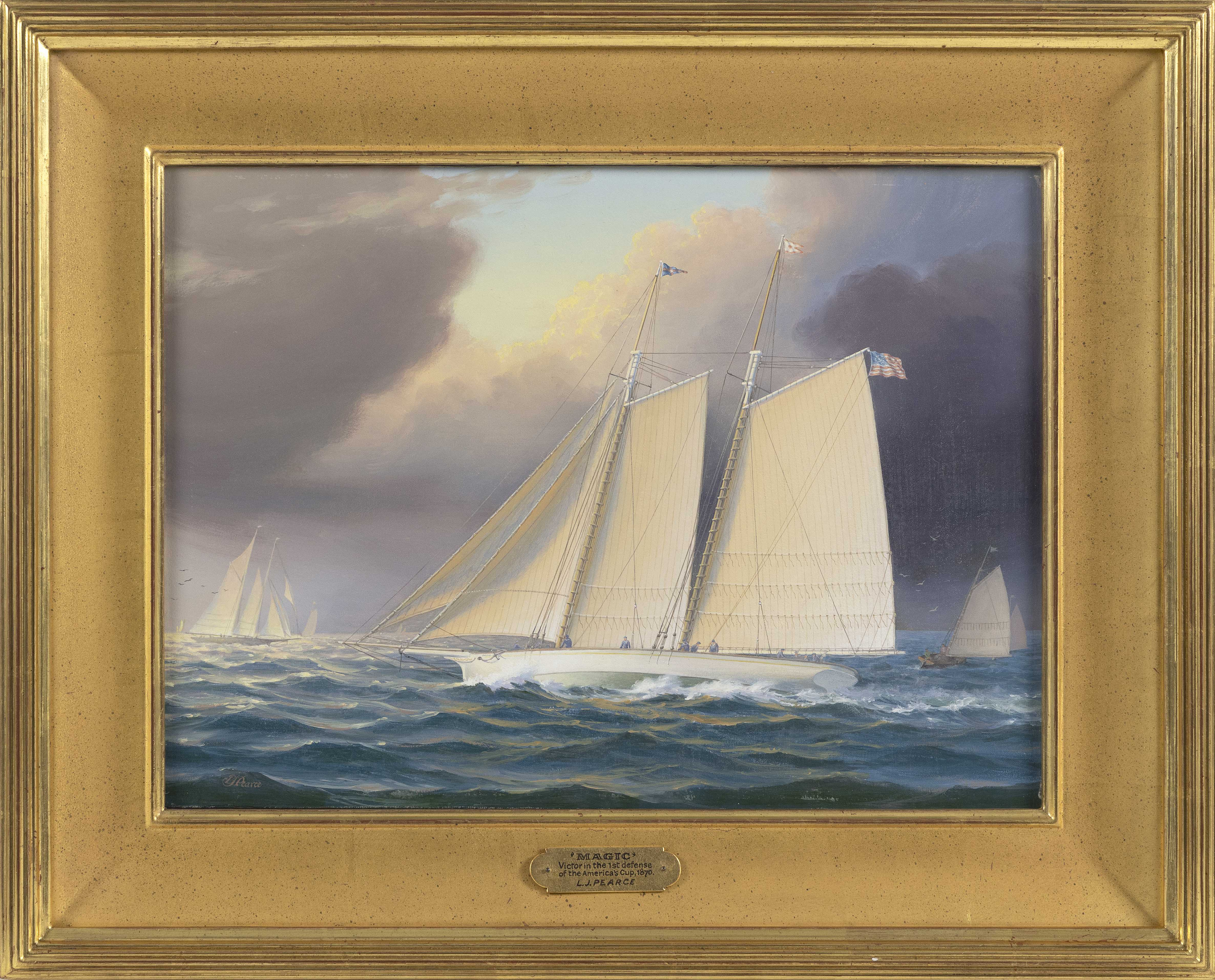 """LEONARD JOHN PEARCE (England, b. 1932), """"Magic - Victor in the First Defense of the America's Cup 1870""""., Oil on board, 11"""" x 15"""". Framed 16.5"""" x 20.5""""."""