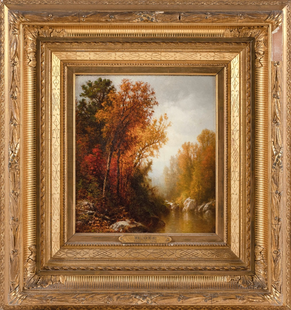 """WILLIAM HART (New York, 1823-1894), """"Autumn Landscape with Stream""""., Oil on board, 9.25"""" x 8.25"""". Framed 18"""" x 16.75""""."""