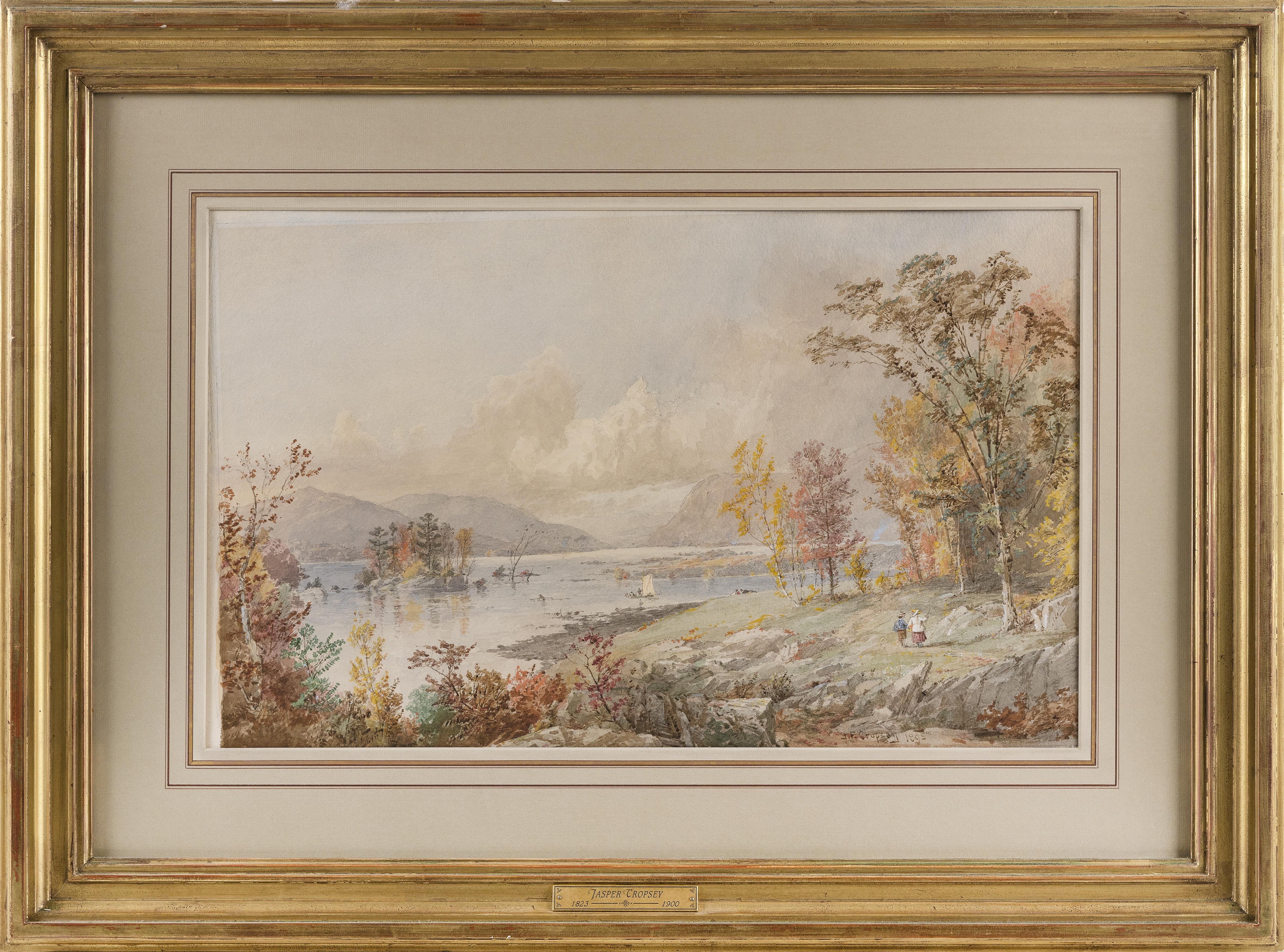 """JASPER FRANCIS CROPSEY (New York, 1823-1900), """"Greenwood Lake New Jersey 1895""""., Watercolor on paper, 12.75"""" x 21"""". Framed 22.5"""" x 31.5""""."""