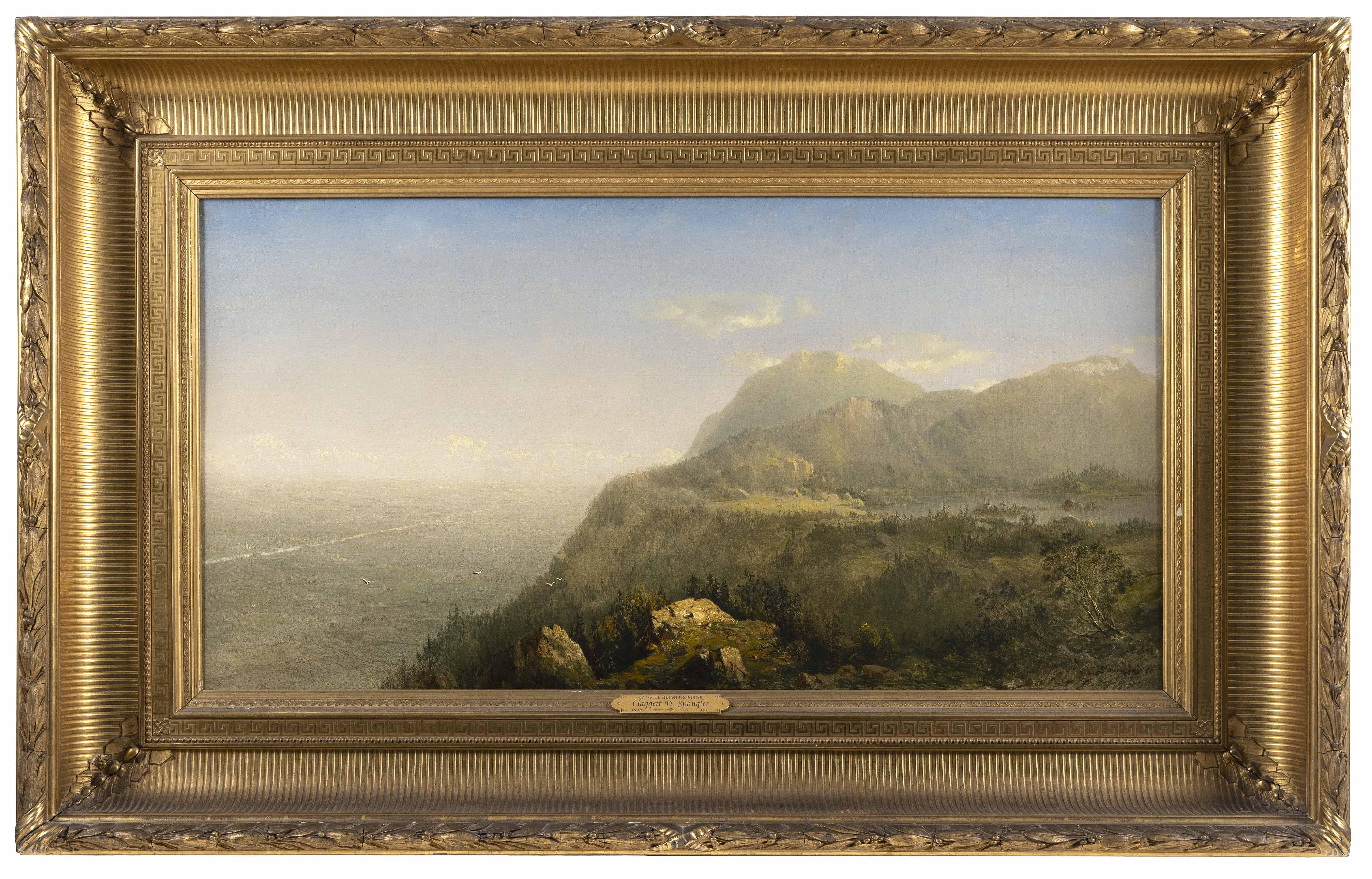 """CLAGGETT D. SPANGLER (Pennsylvania/Maryland, 1848-1911), """"Catskills Mountain House""""., Oil on canvas, 22"""" x 42"""". Framed 35"""" x 56""""."""