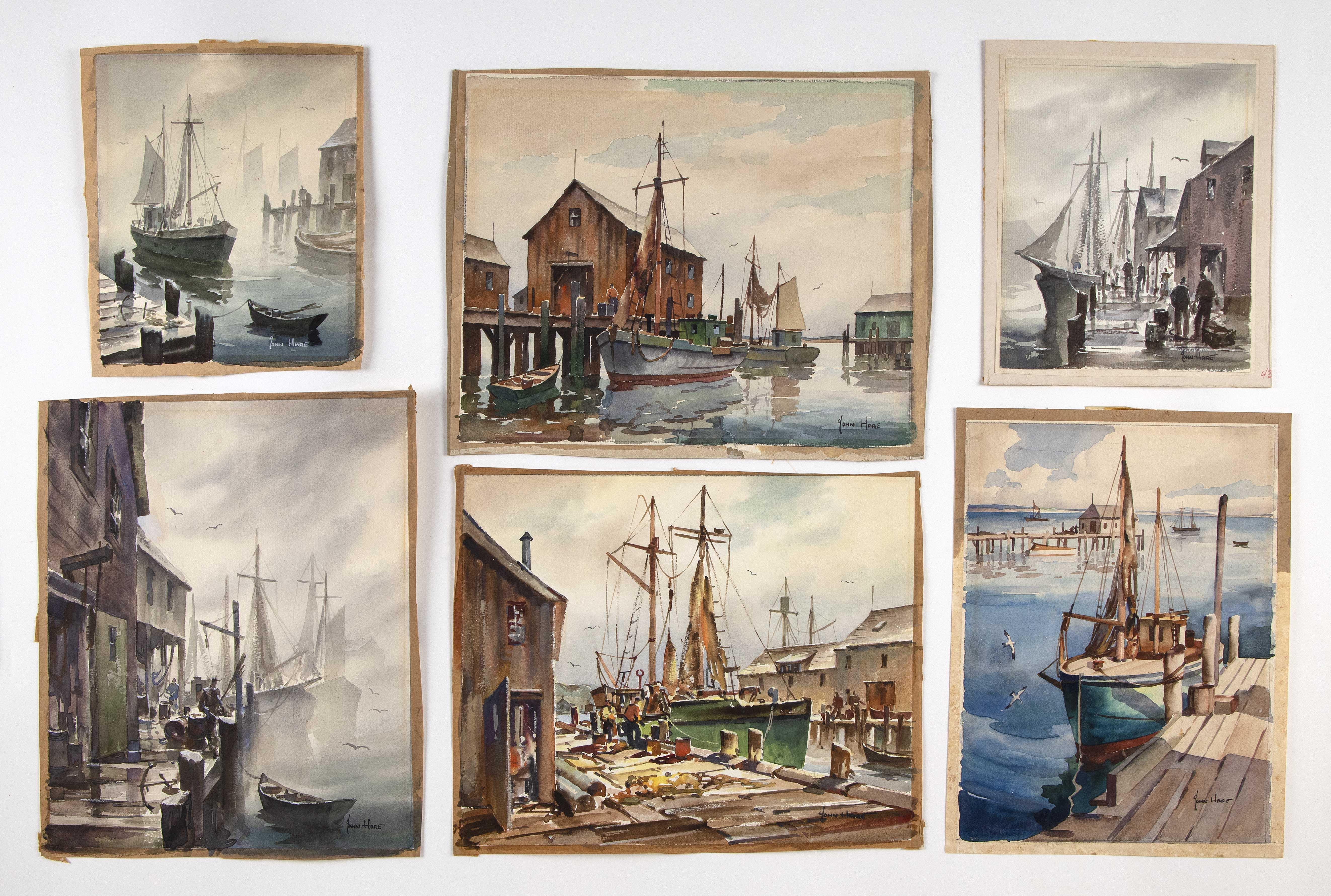 """JOHN CUTHBERT HARE (Massachusetts/Florida, 1908-1978), Six watercolors., Smallest 9"""" x 7.5"""". Largest 10.5"""" x 12.5"""". All unframed."""