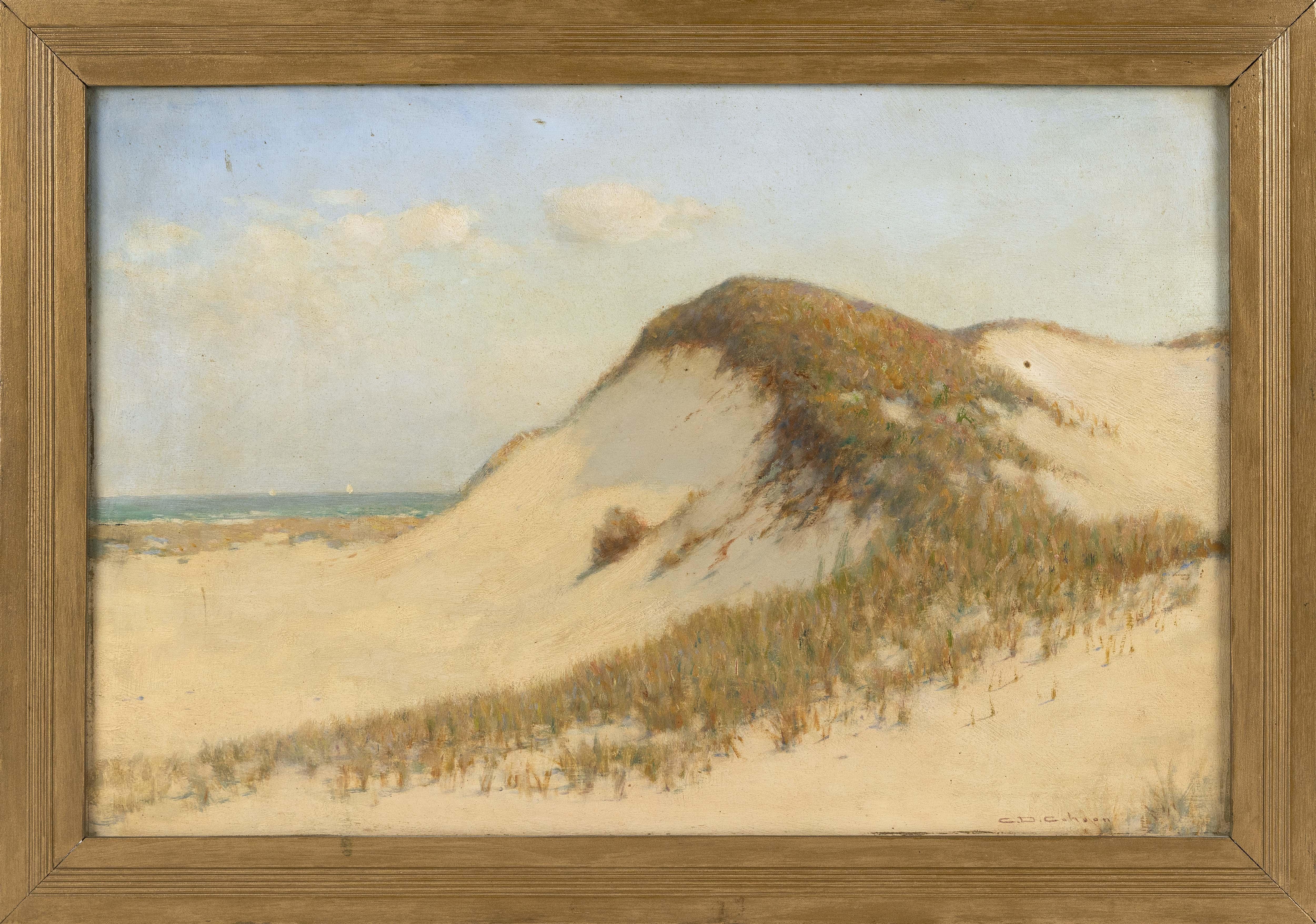 """CHARLES DREW CAHOON (Massachusetts, 1861-1951), Dune landscape., Oil on masonite, 17"""" x 25.75"""". Framed 20.5"""" x 29.5""""."""