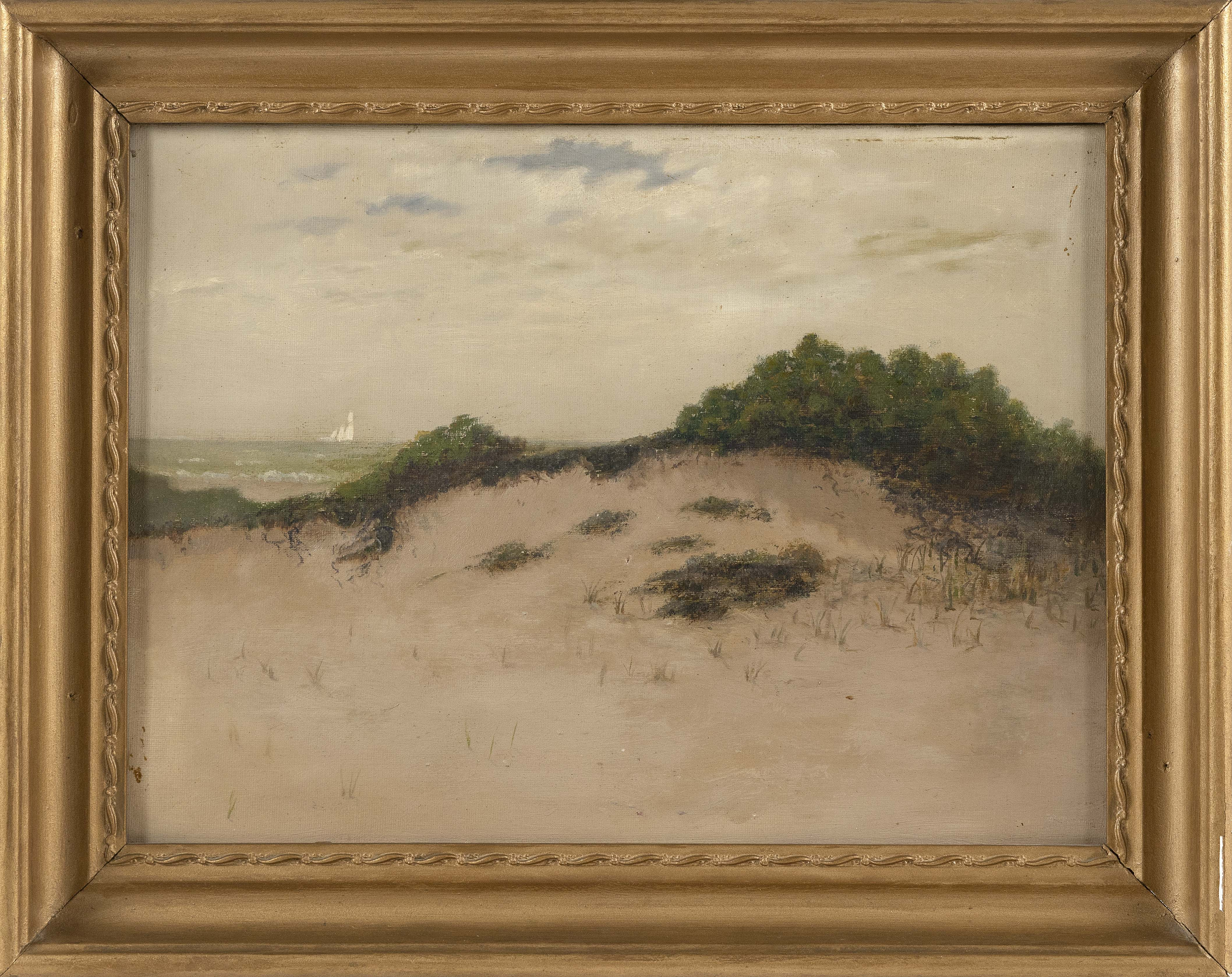"""ATTRIBUTED TO CHARLES DREW CAHOON (Massachusetts, 1861-1951), Ship of the beach., Oil on canvas, 12.5"""" x 17.5"""". Framed 16"""" x 20.5""""."""