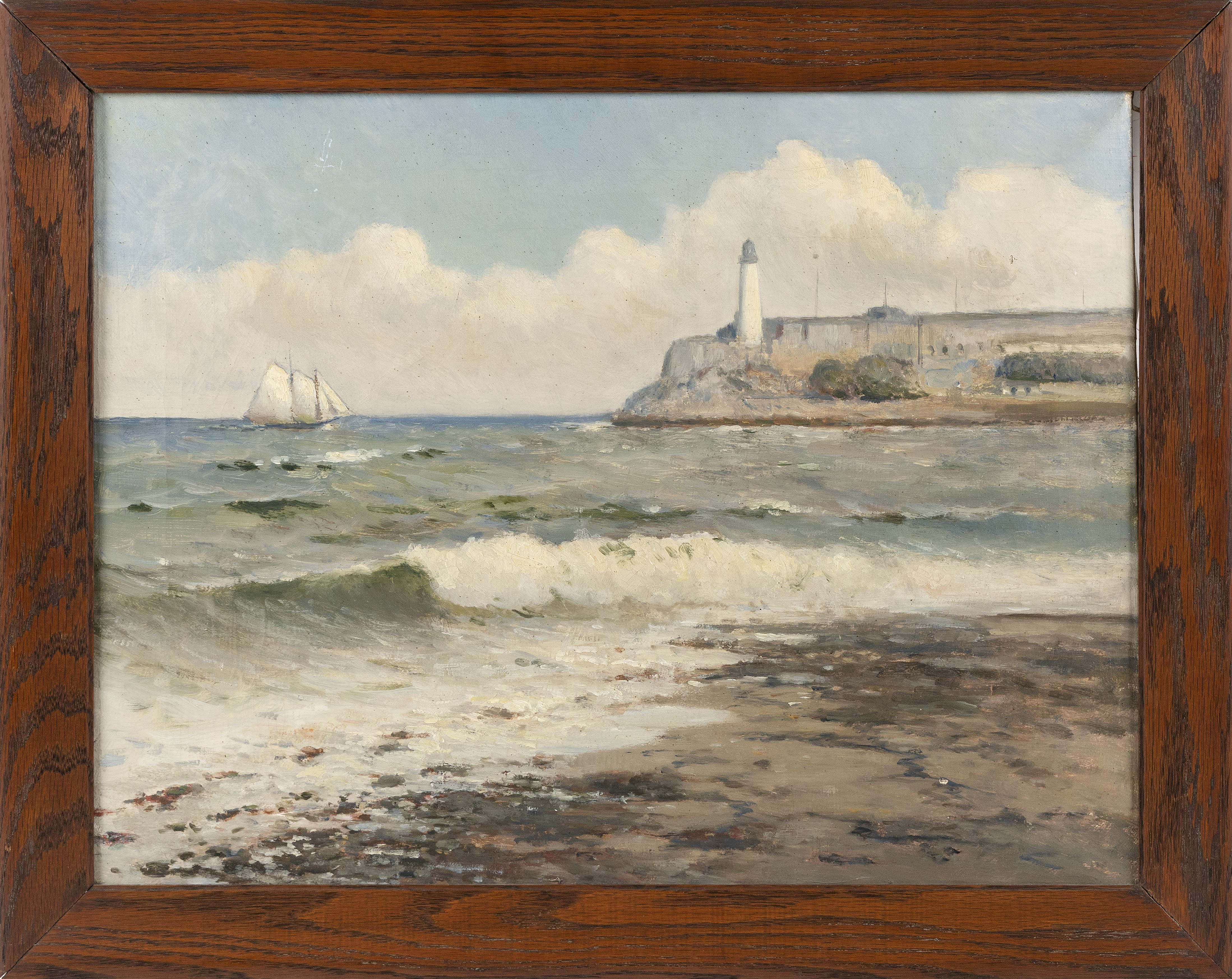 """ATTRIBUTED TO CHARLES DREW CAHOON (Massachusetts, 1861-1951), Ship off a lighthouse., Oil on canvas, 17"""" x 22"""". Framed 20.25"""" x 25.75""""."""