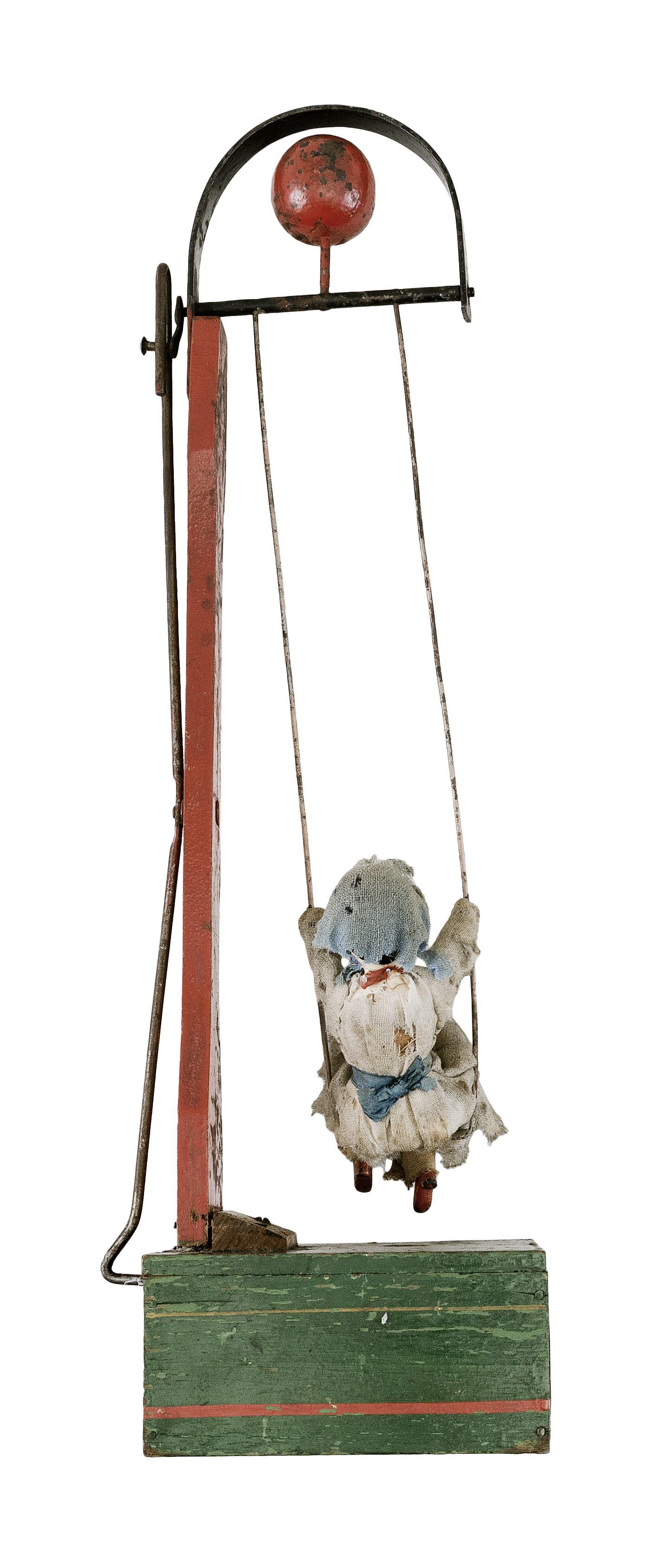"""IVES GIRL ON A SWING Circa 1870 Height 14""""."""
