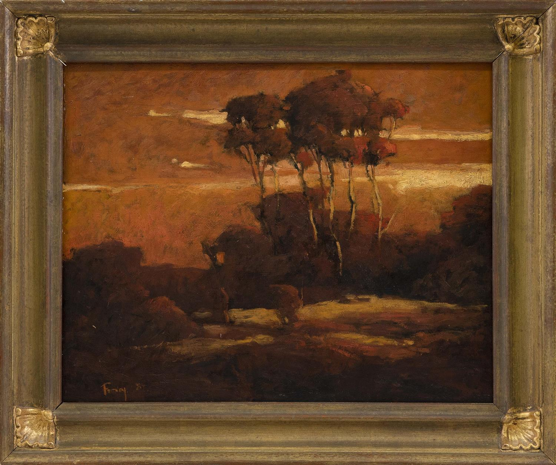 LORETTA FEENEY (Massachusetts, b. 1961), Landscape at Sunset., Oil on board, 16