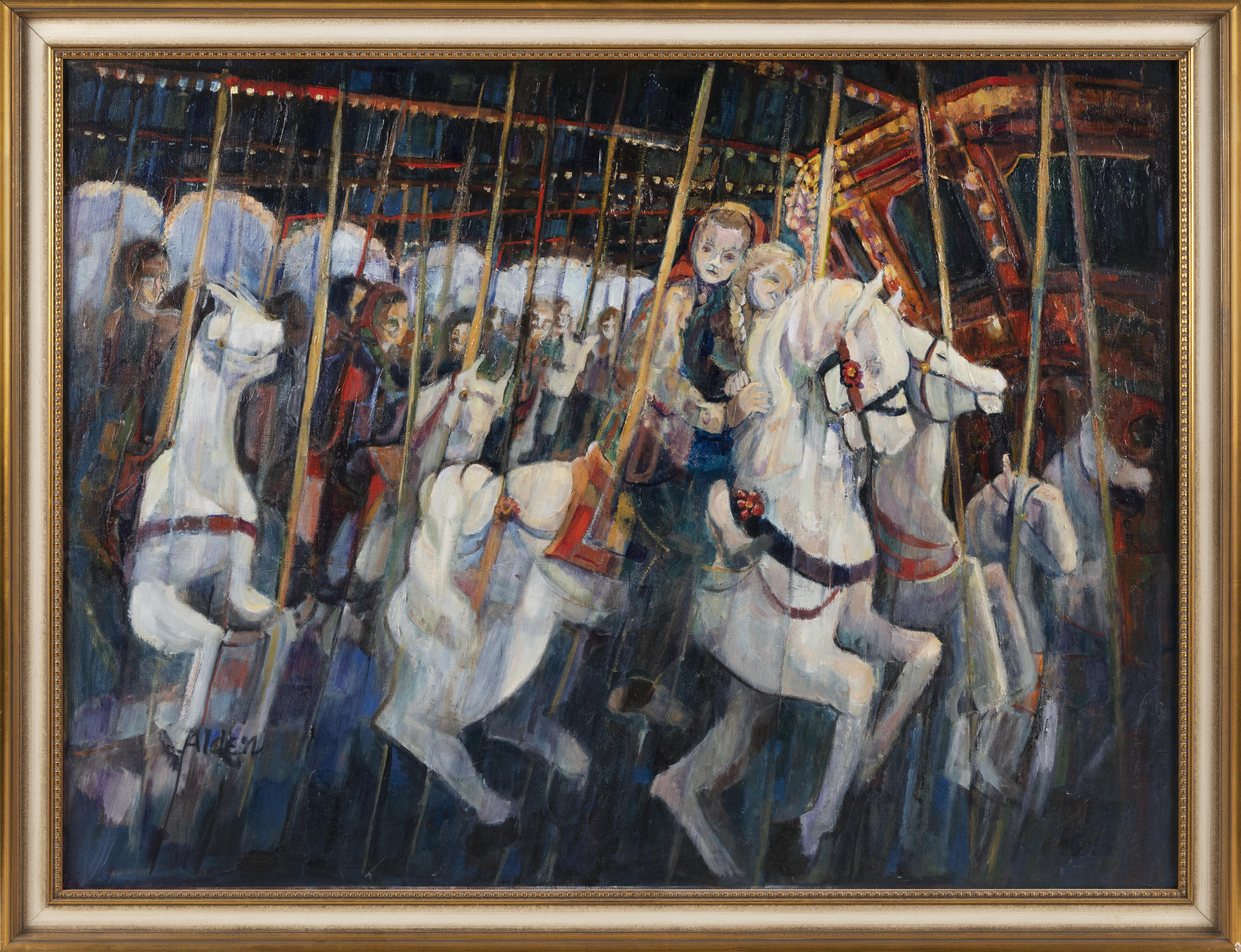"SELMA ALDEN (Massachusetts, Contemporary), Figures on a carousel., Oil on canvas, 30"" x 40"". Framed 33.5"" x 43.5""."