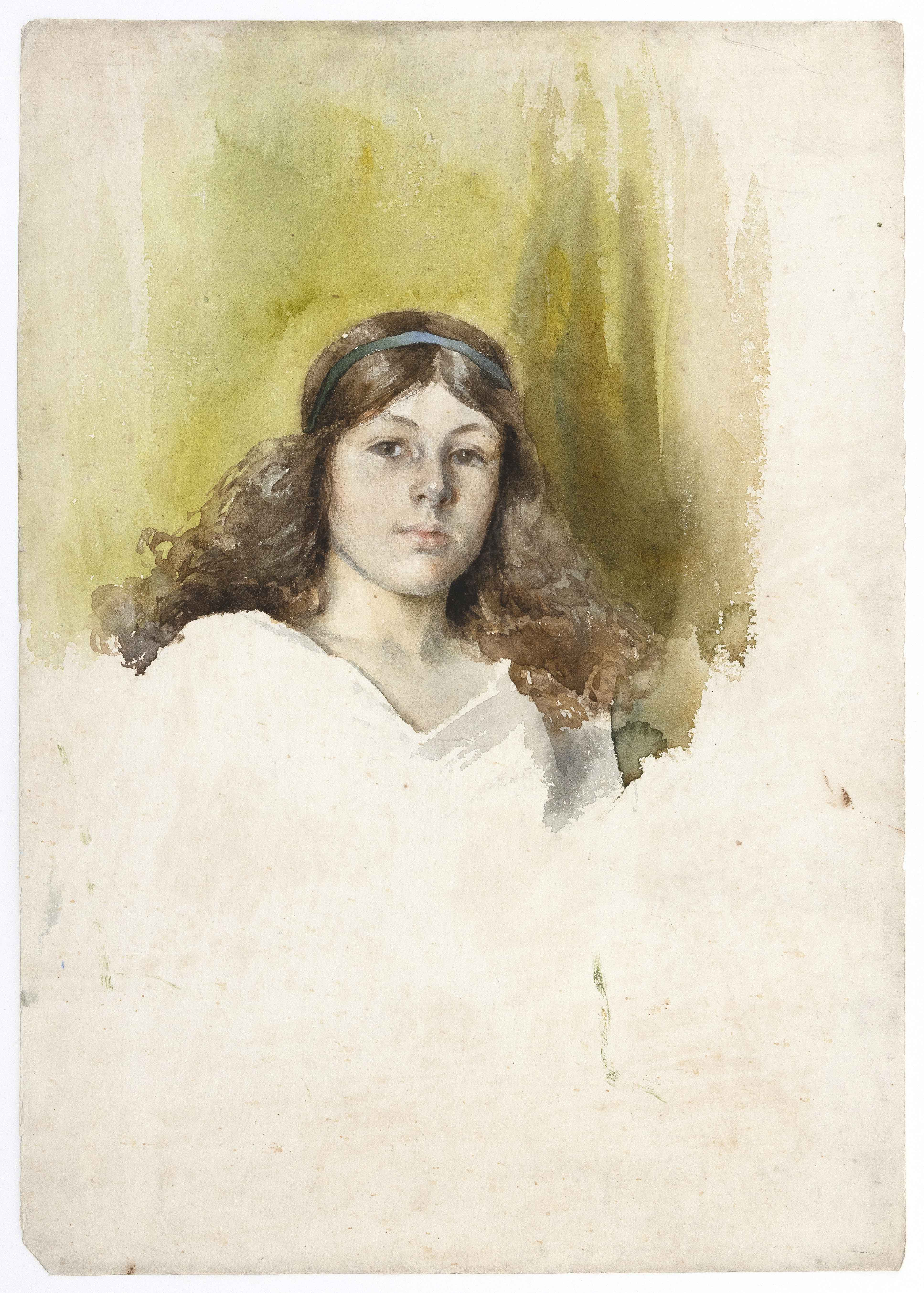 ATTRIBUTED TO LYDIA FIELD EMMET (New York, 1866-1952), Portrait of a young girl., Watercolor on paper, 15