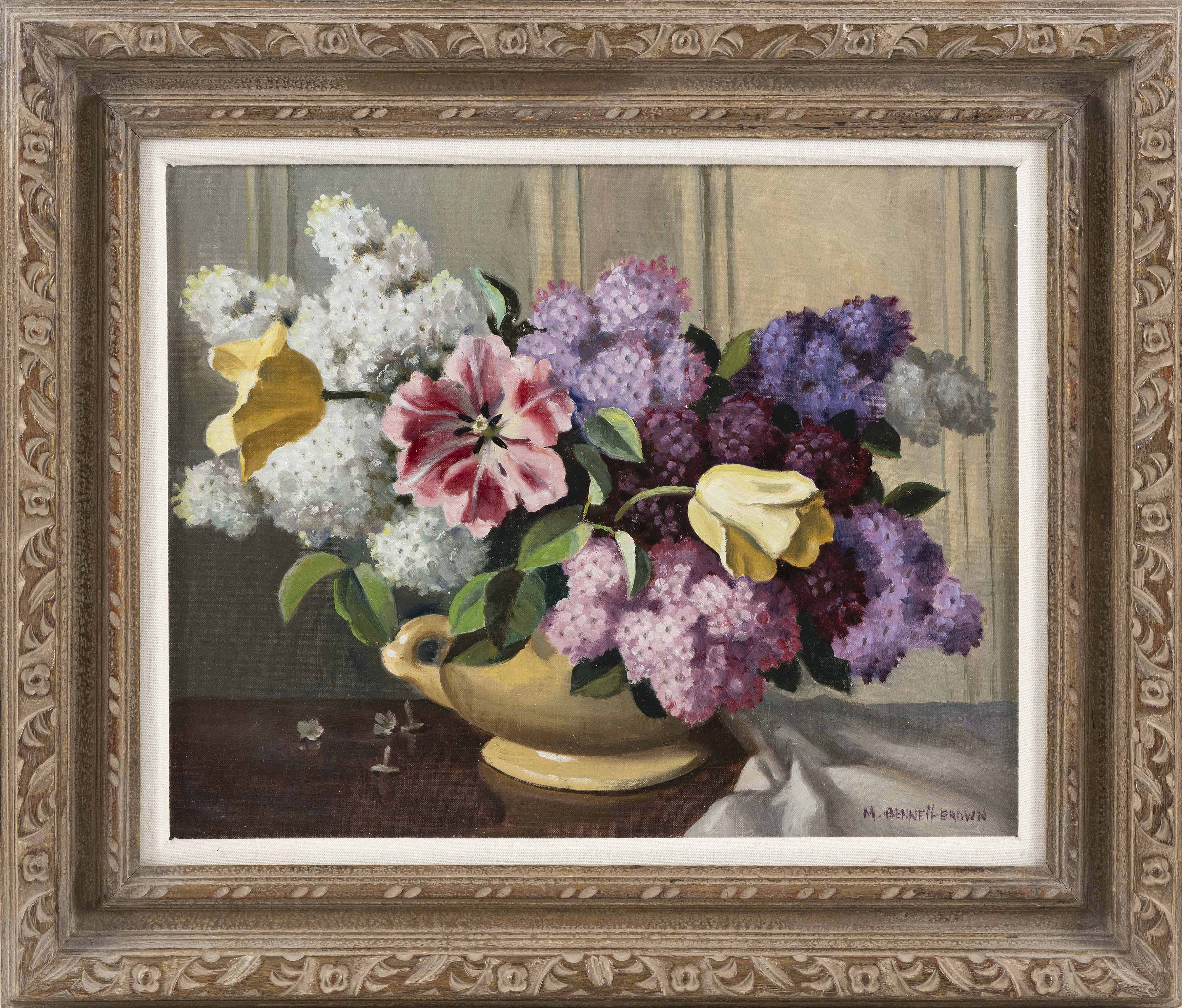 MAE BENNETT BROWN (America/England, 1887-1973), Still life of lilacs and tulips., Oil on canvas, 16