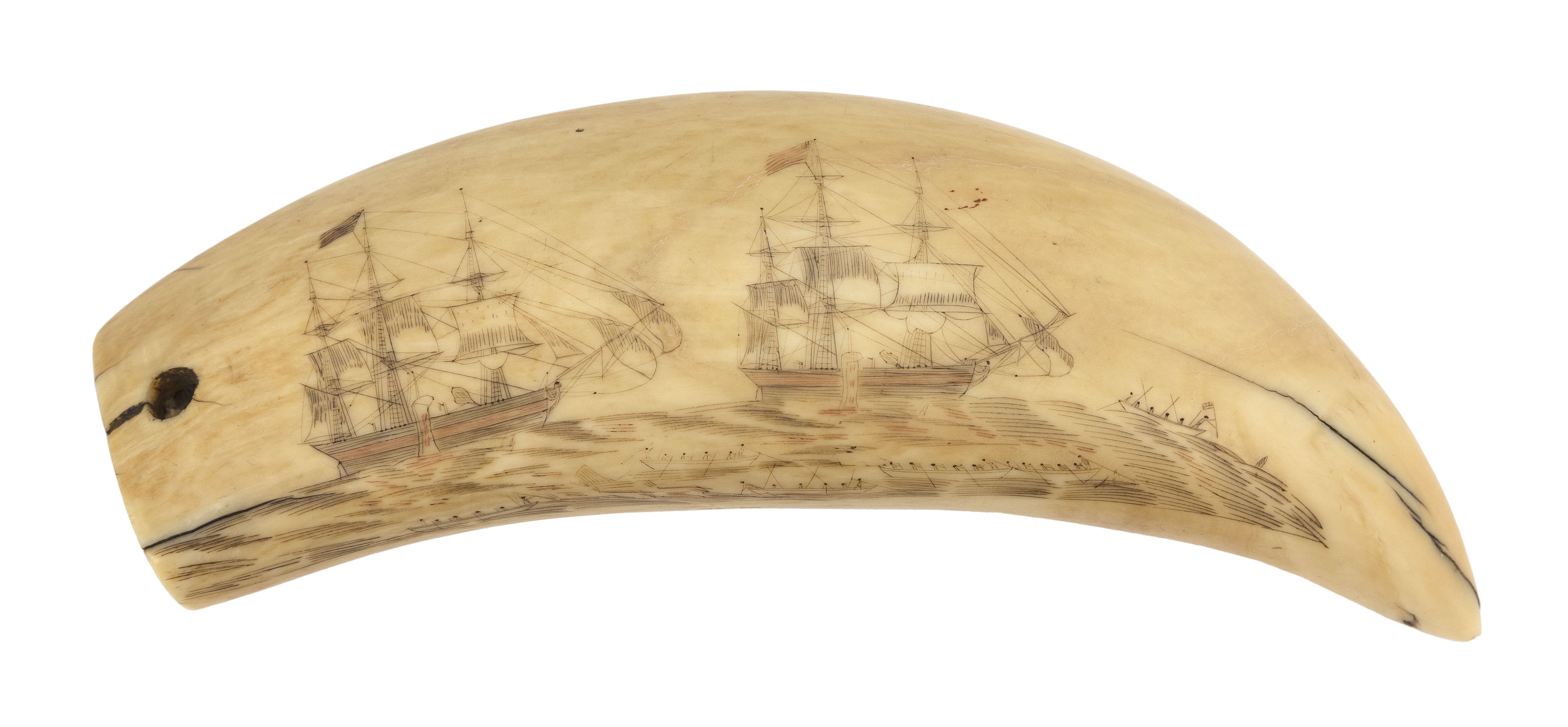 POLYCHROME SCRIMSHAW WHALE'S TOOTH WITH WHALING SCENE Mid-19th Century Length 6