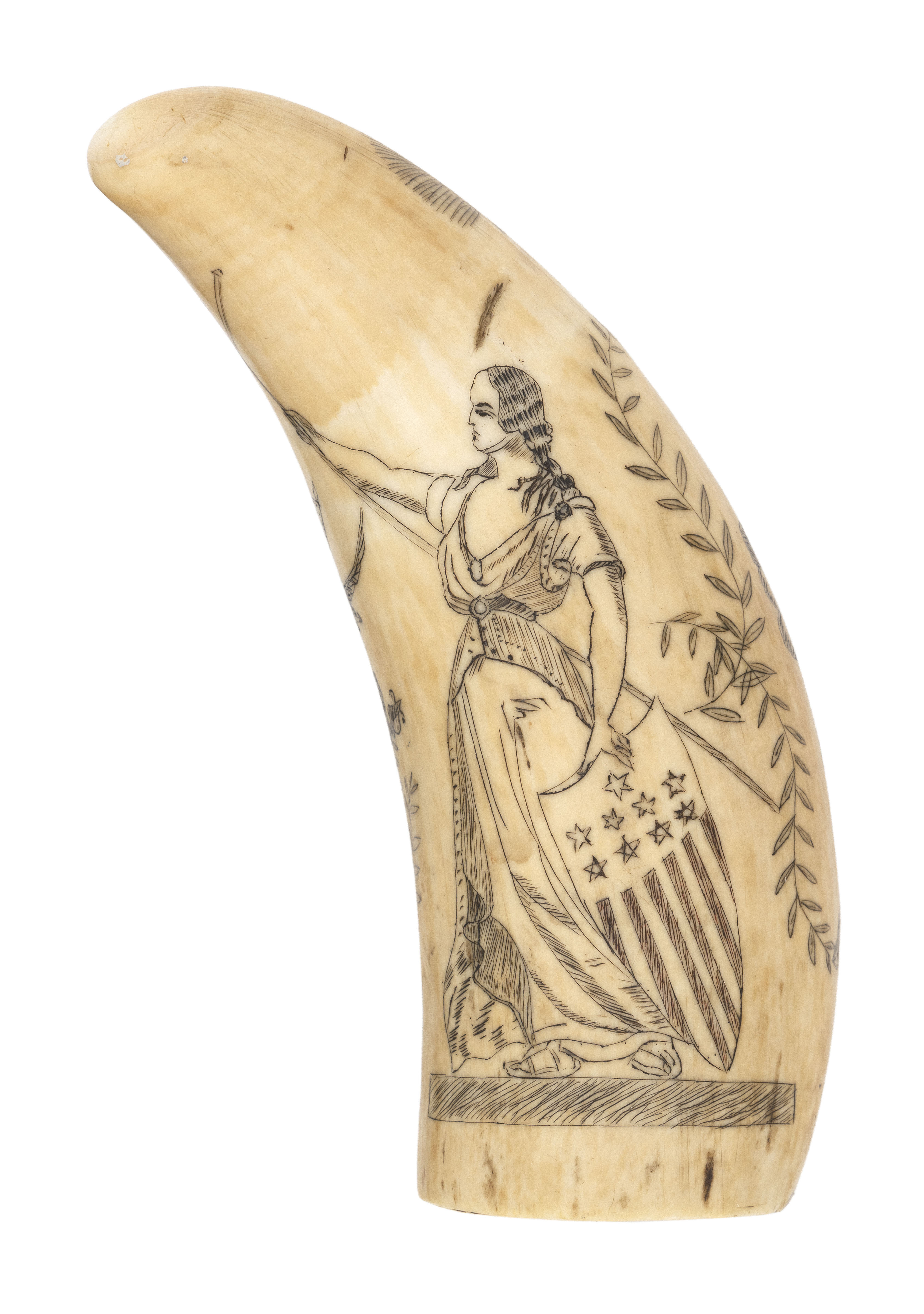 POLYCHROME SCRIMSHAW WHALE'S TOOTH DEPICTING LADY LIBERTY AND LADY JUSTICE Mid-19th Century Length 4.5