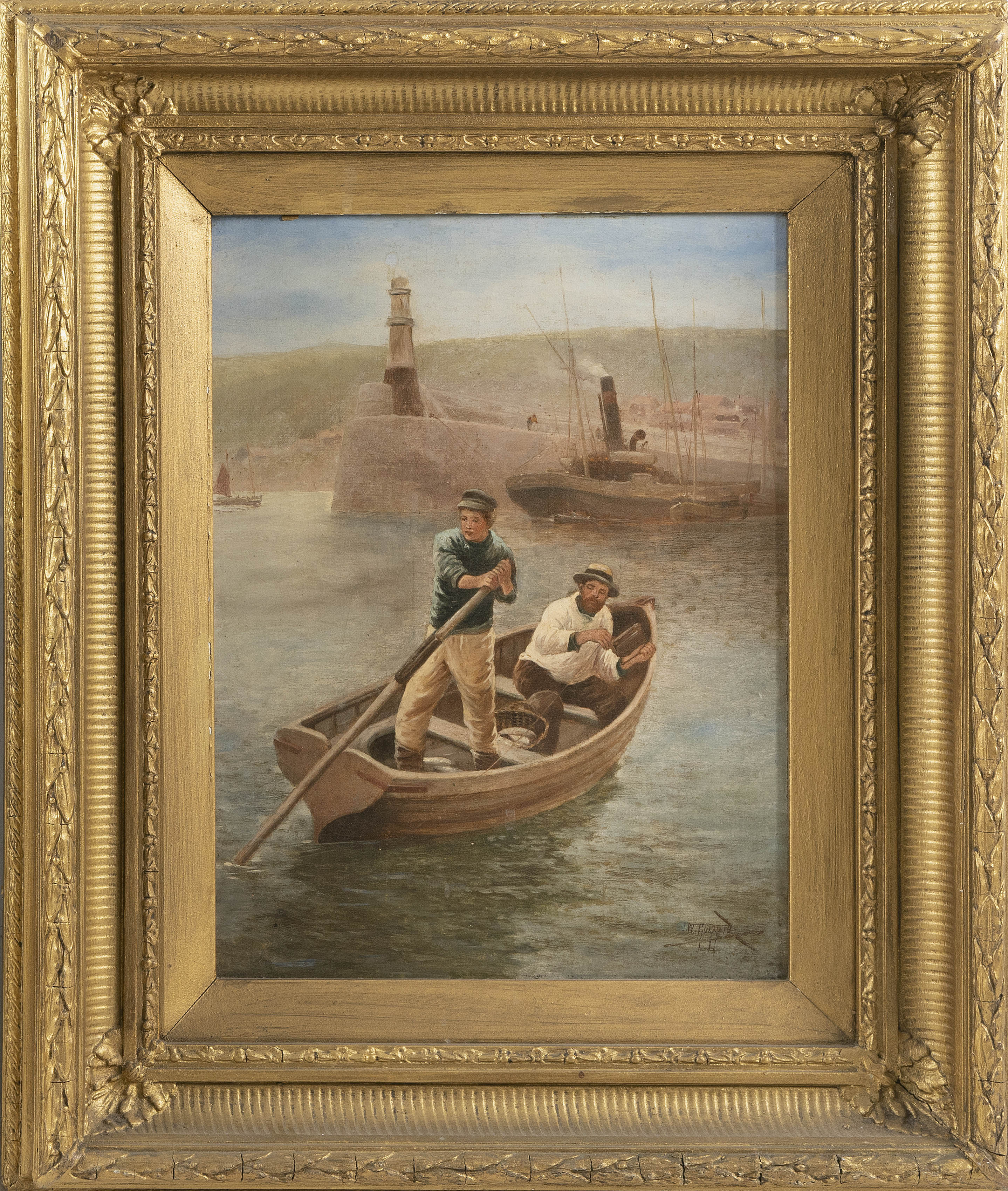 JAMES WALTER GOZZARD (England, 1862-1939), Fisherman in a dory., Oil on canvas, 16