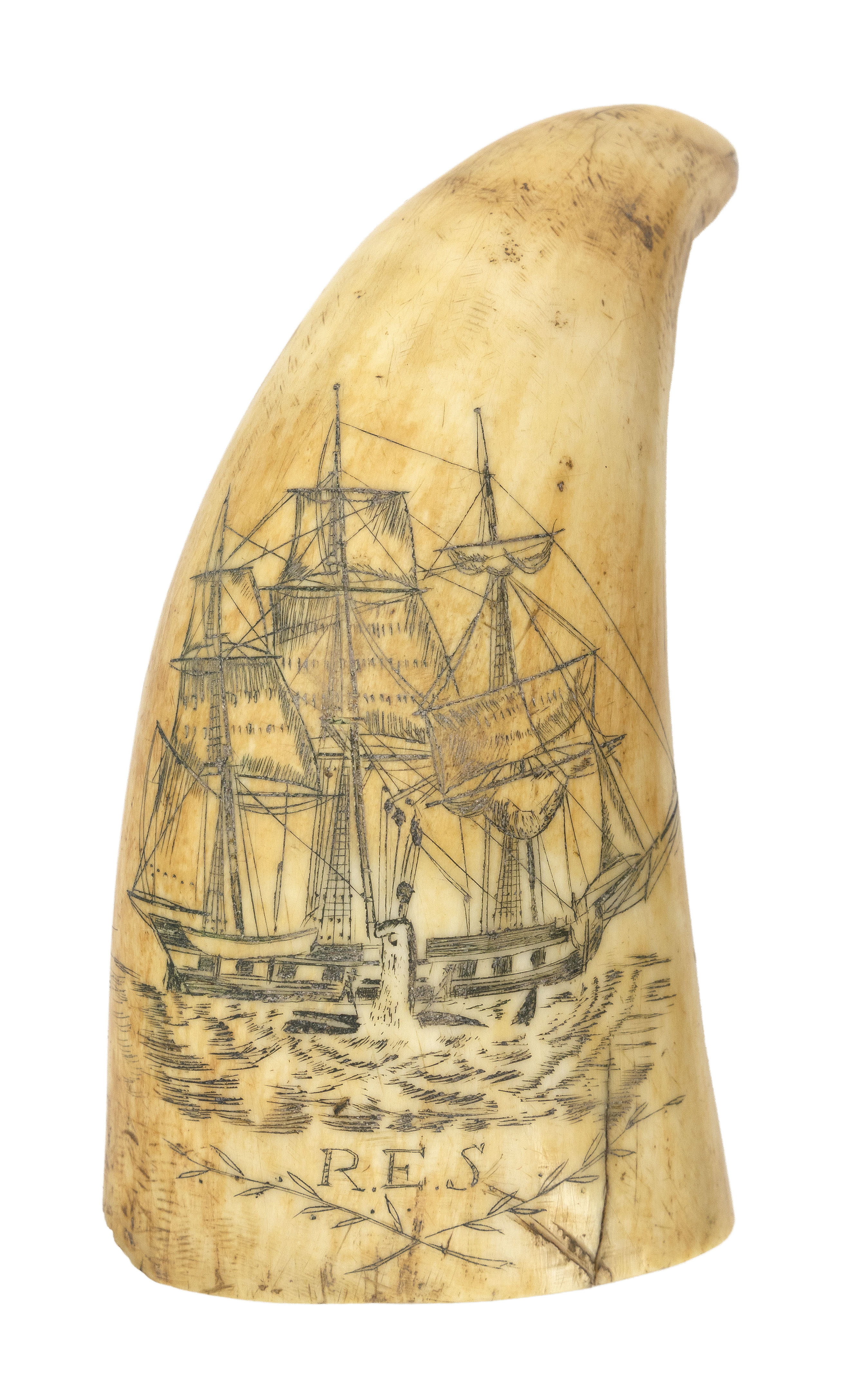 SCRIMSHAW WHALE'S TOOTH WITH ACTIVE WHALING SCENE Mid-19th Century Length 4.25