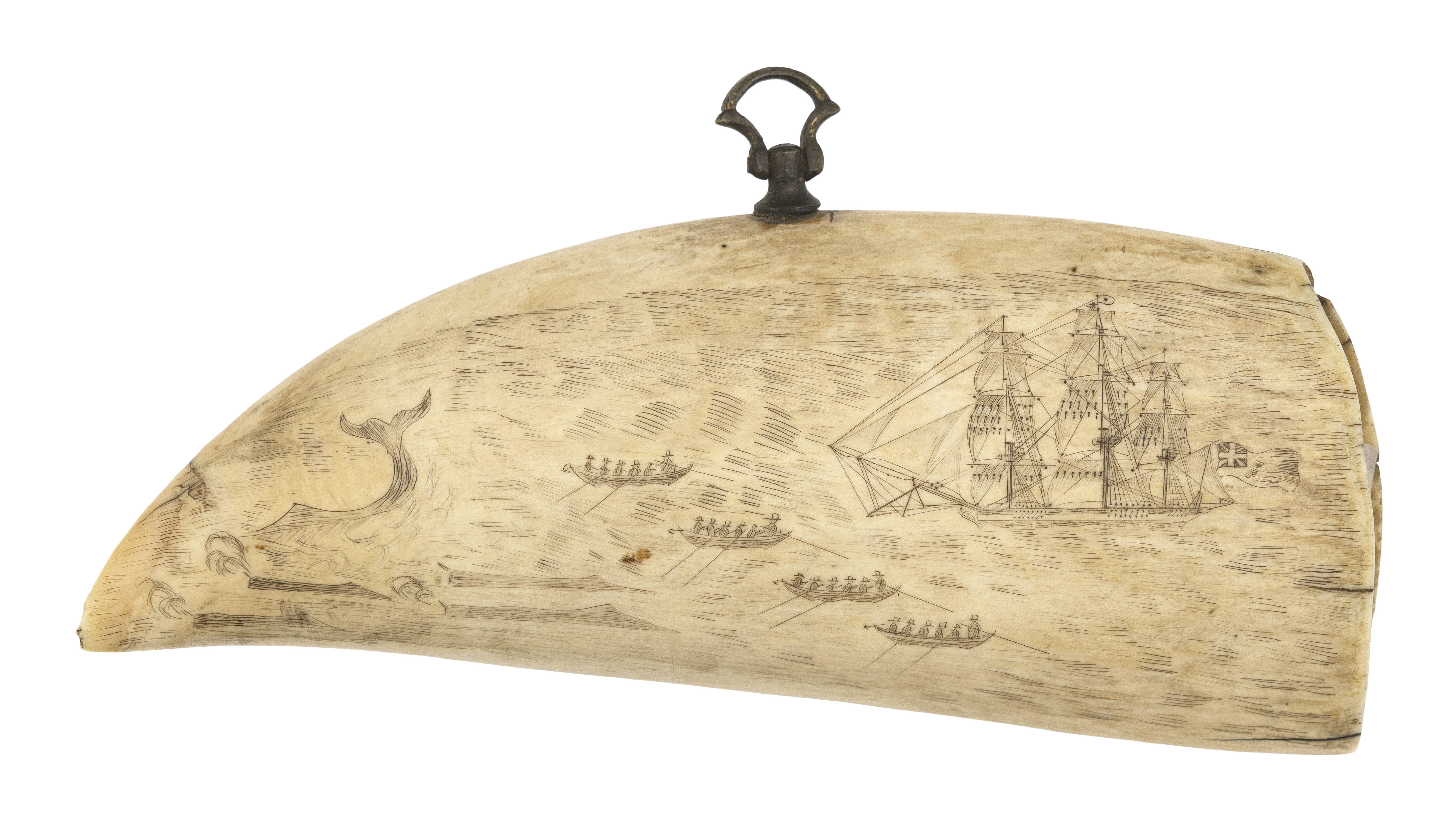 SCRIMSHAW WHALE'S TOOTH WITH WHALING SCENE Mid-19th Century Length 6.25