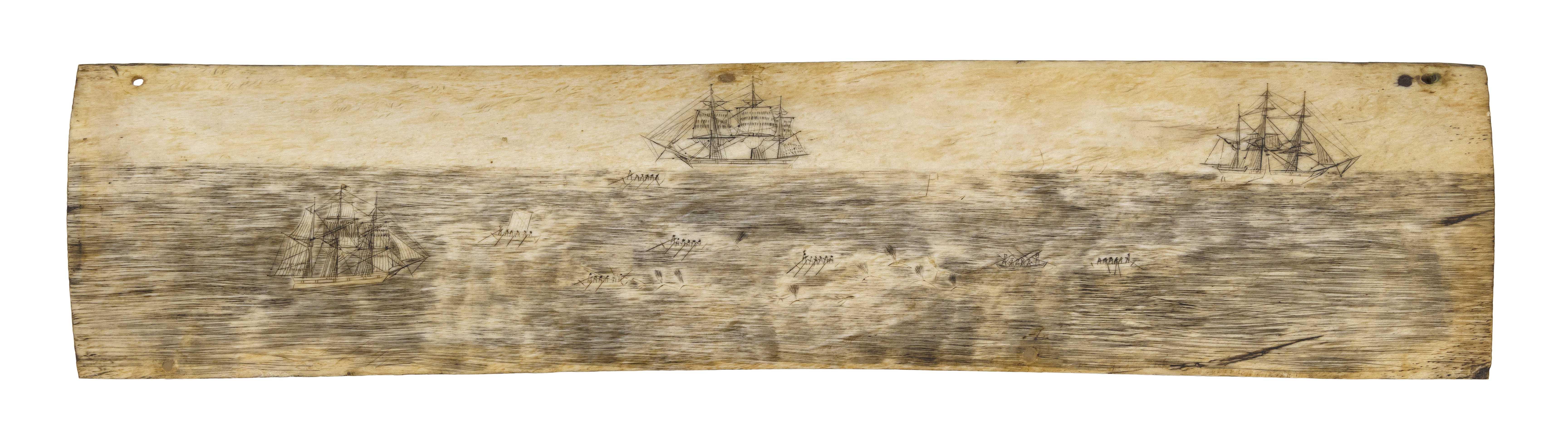 SCRIMSHAW PANBONE PLAQUE Mid-19th Century Approx. 3.5