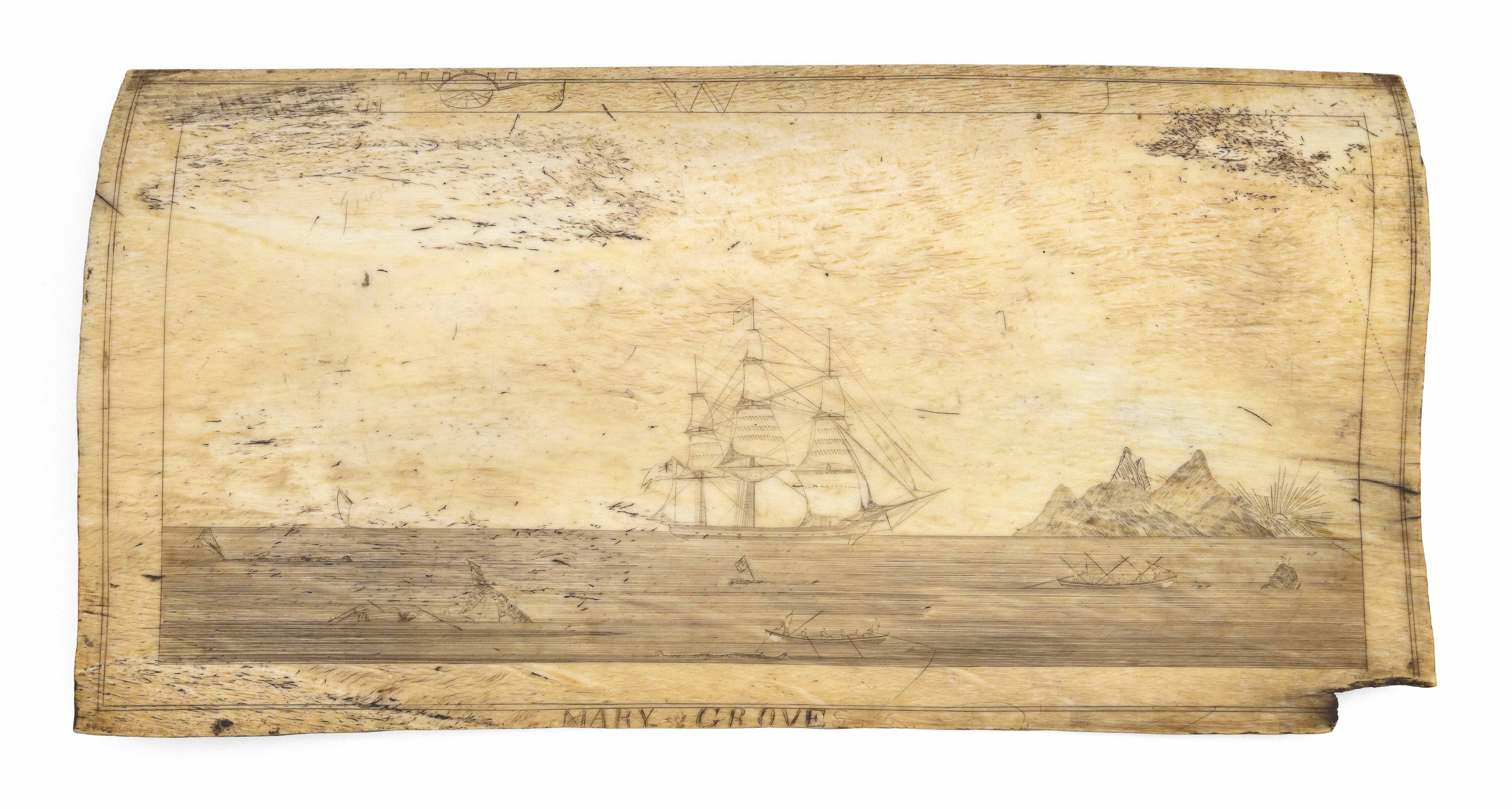 SCRIMSHAW PANBONE PLAQUE BY THE PANBONE ENGRAVER Circa 1830 Approx. 8