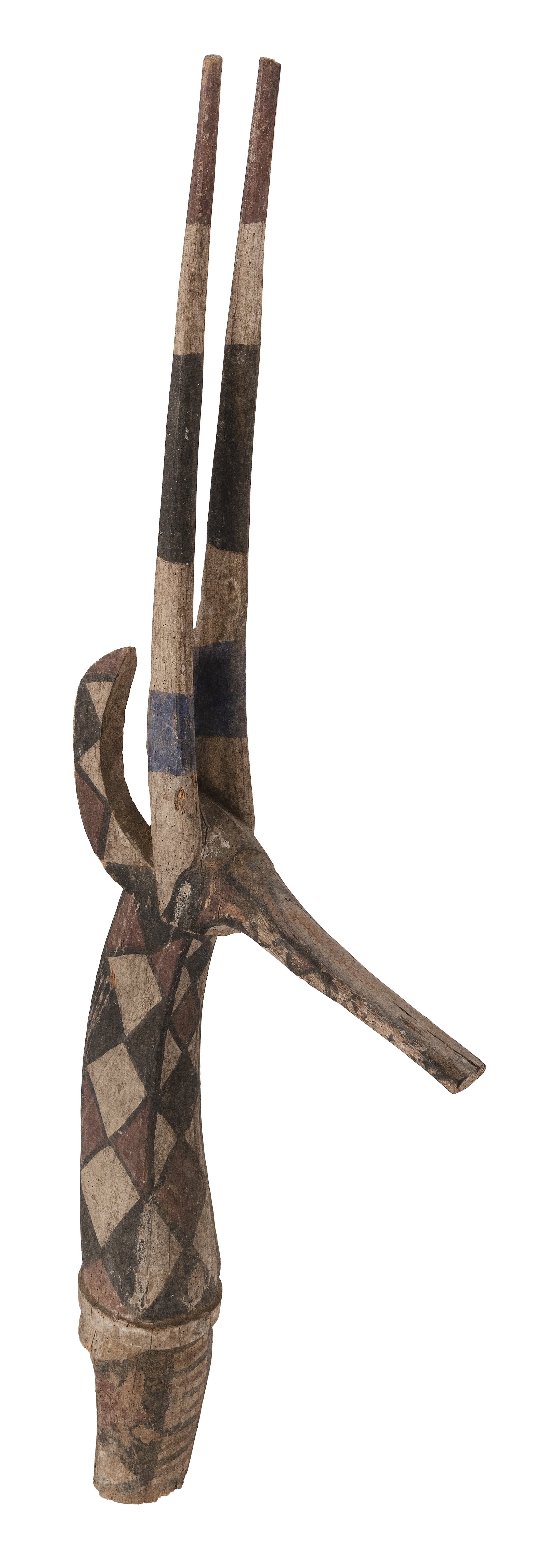 AFRICAN CARVED AND PAINTED WOOD FIGURE OF AN ANTELOPE Height 49.75