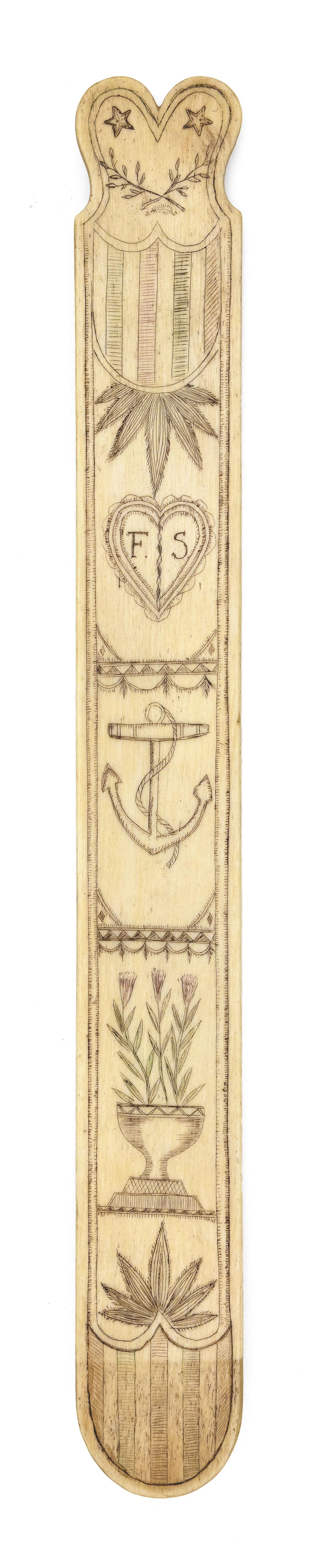 POLYCHROME SCRIMSHAW WHALEBONE BUSK Mid-19th Century Length 13.25