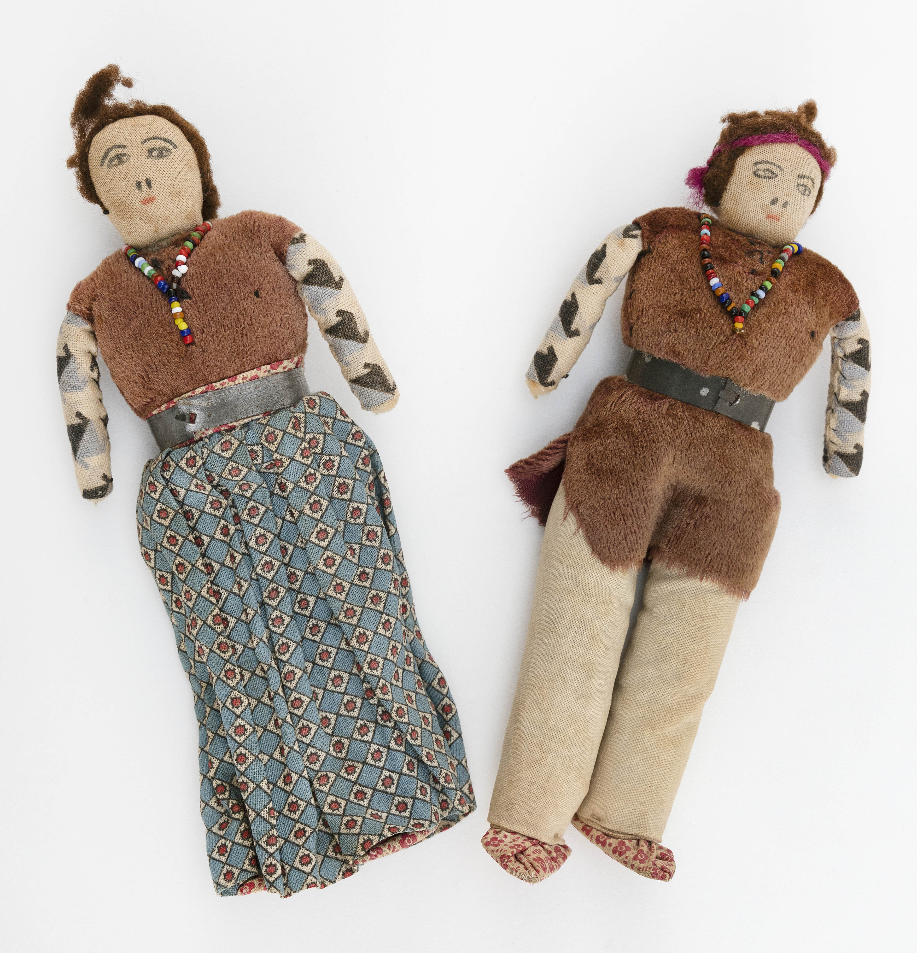 TWO AMERICAN NATIVE CLOTH DOLLS First Half of the 20th Century Heights 7