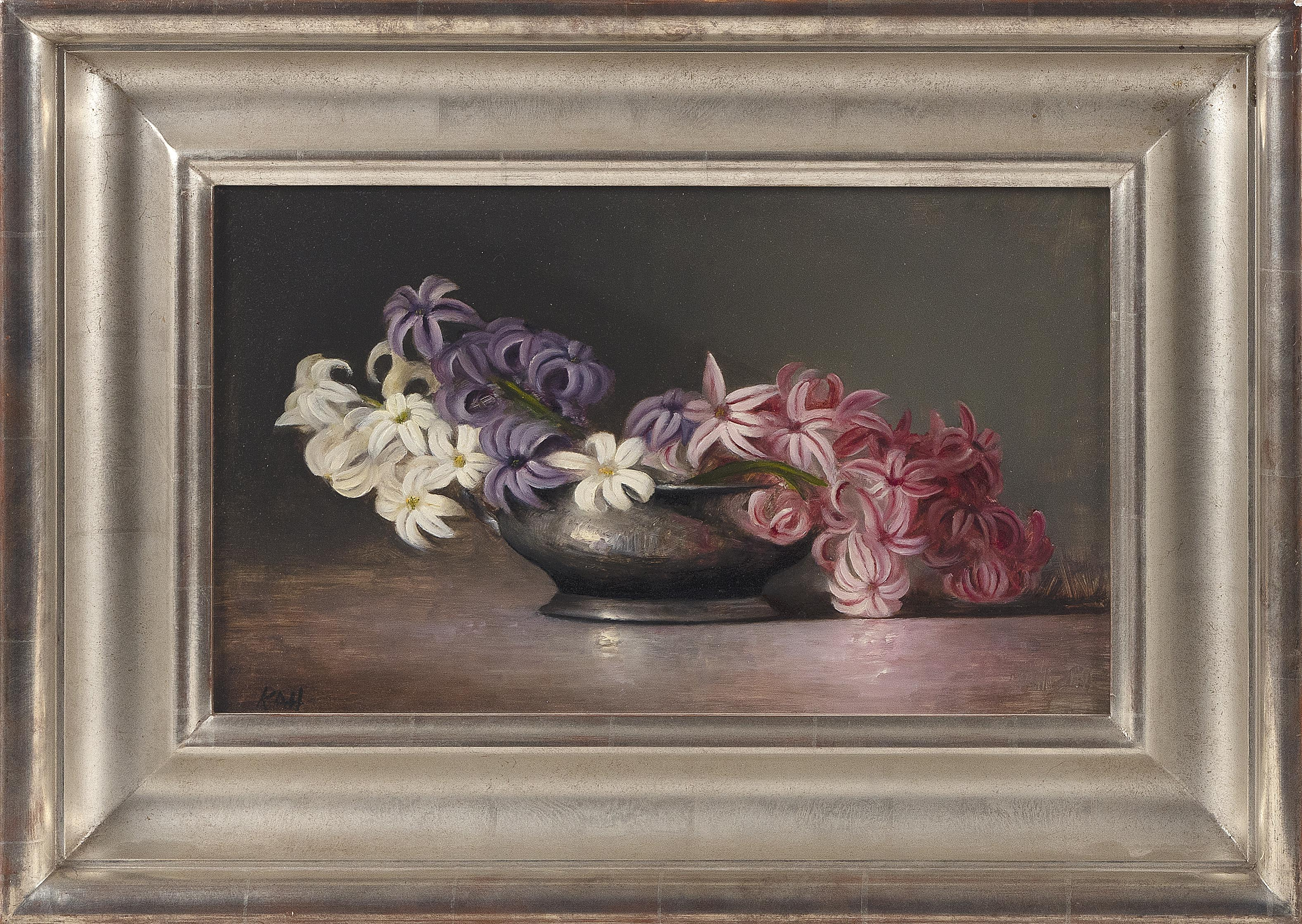 KATHERINE HARTLEY (NY, AZ, MA, b. 1959), Still life of hyacinths., Oil on board, 9