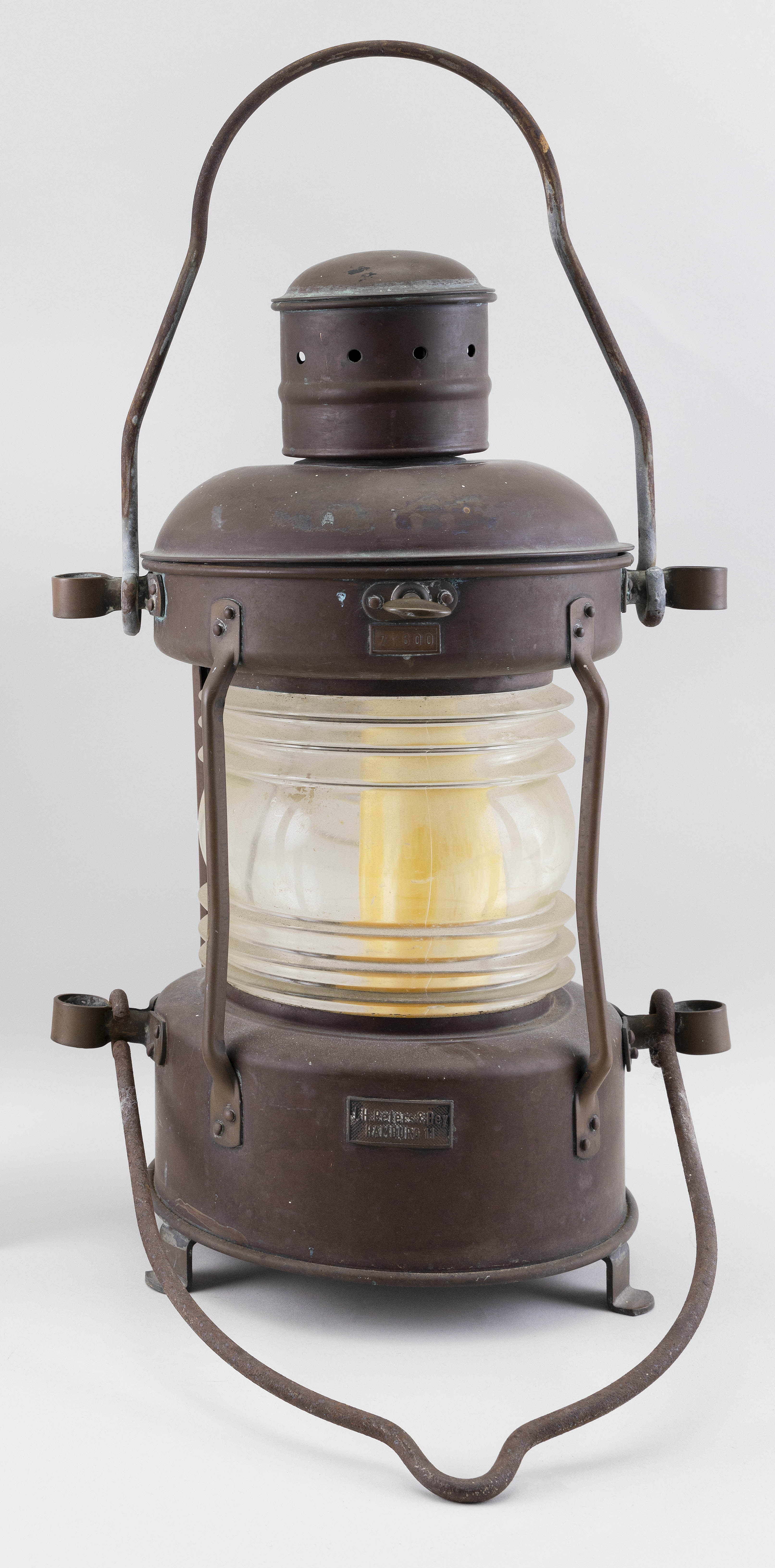 """J.H. PETERS & BEY SHIPS LANTERN Early 20th Century Height 19"""". Diameter at rings 13""""."""
