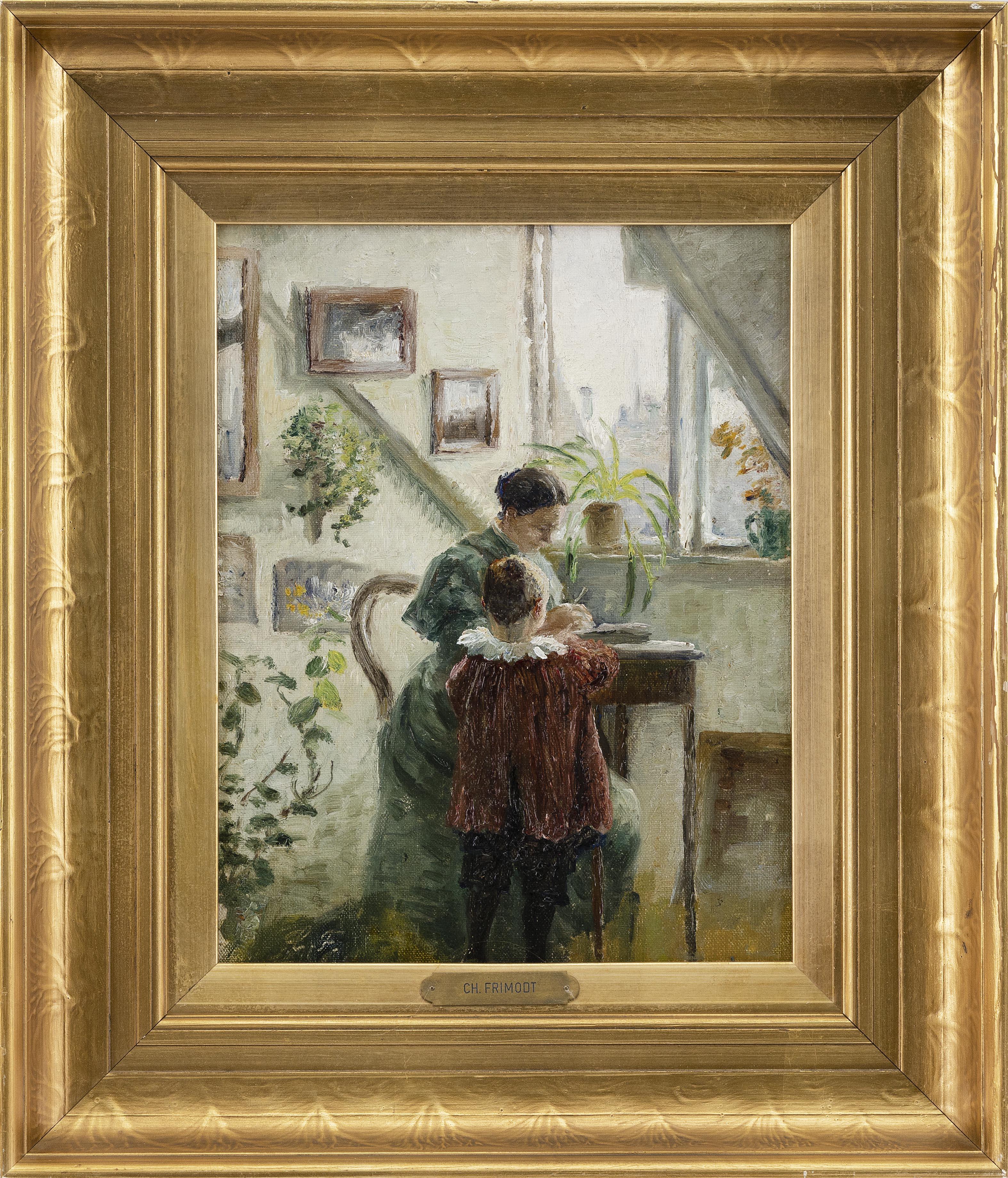 "CHARLOTTE FRIMODT (Denmark, 1862-1950), Interior scene with mother & child, Oil on canvas-board 11.75"" x 9"". Framed 17"" x 14.5""."