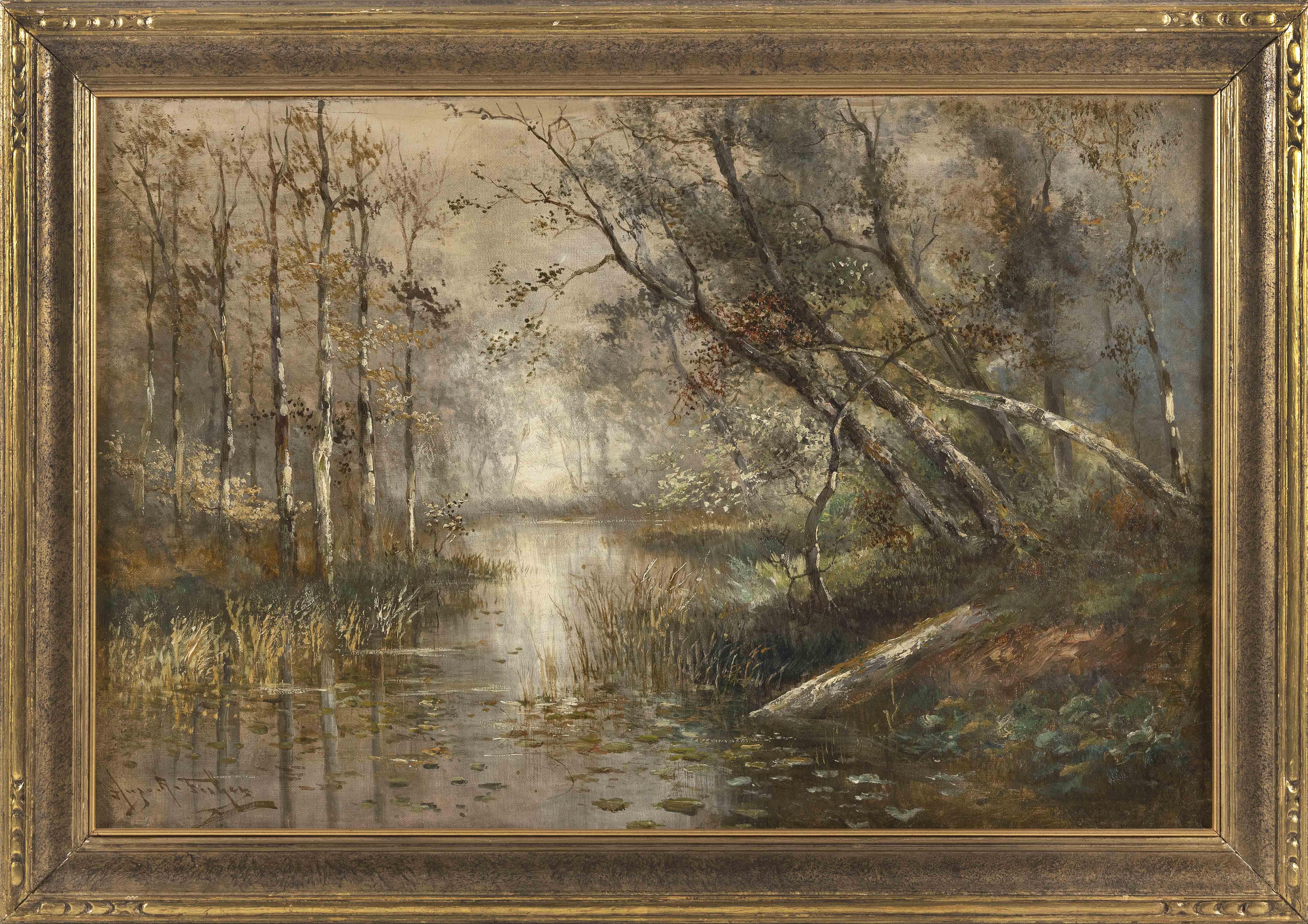 "HUGO ANTON FISHER (California/New York, 1854-1916), A forest river., Oil on canvas, 20"" x 30"". Framed 25"" x 35""."