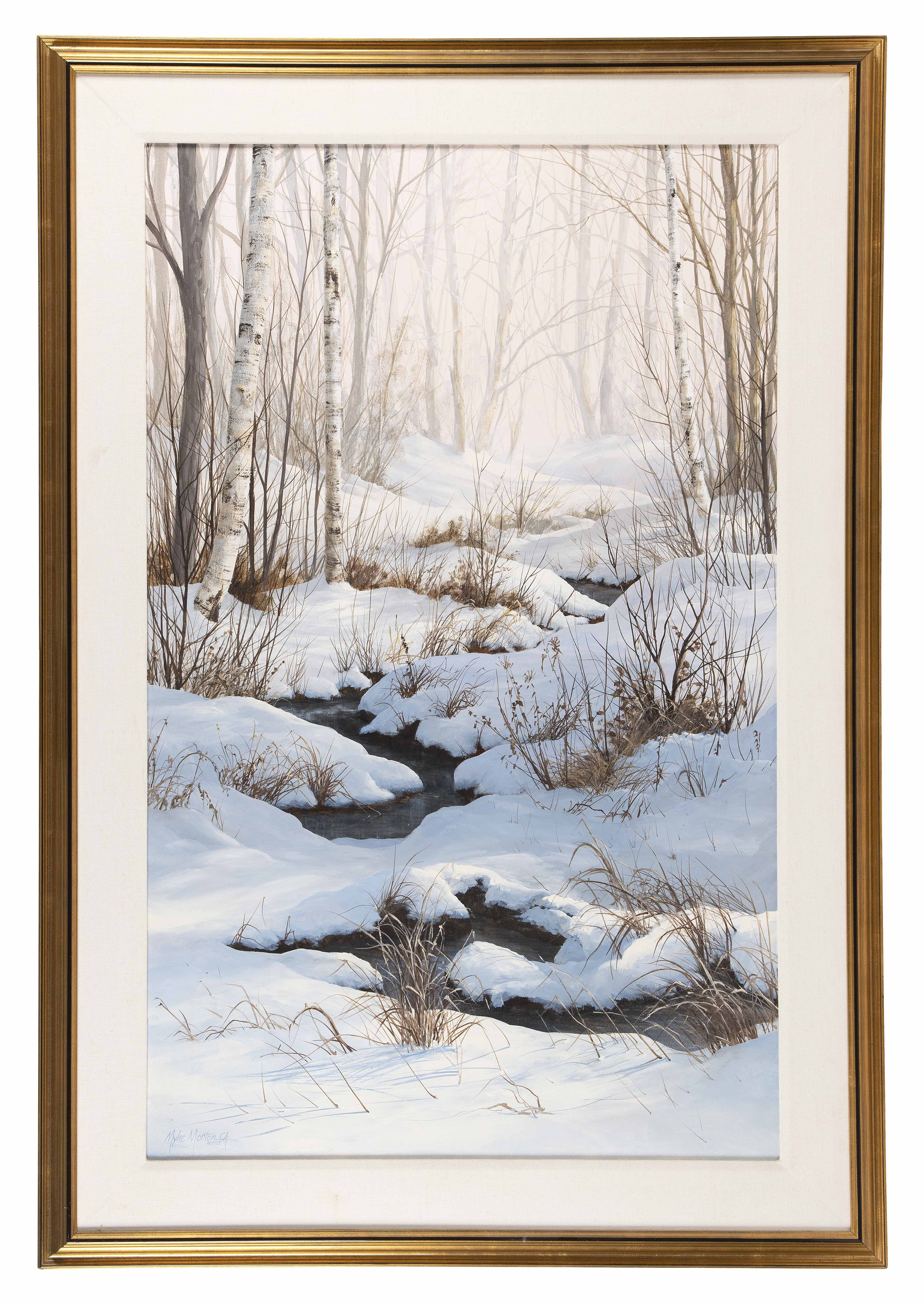 MYKE MORTON (New Hampshire, 1940-2008), Snow-filled landscape with birch trees and winding stream., Oil on board, 42