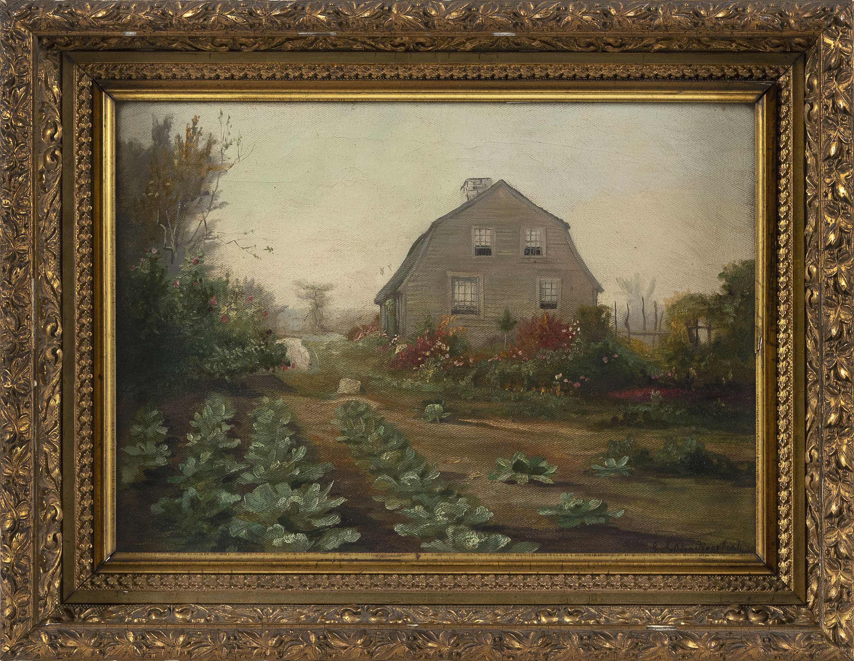 """GEORGE SELDON ROORBACH (New York/New Jersey, 1860-1930), Gambrel-style cottage and gardens., Oil on canvas 10"""" x 14"""". Framed 14"""" x 18""""."""