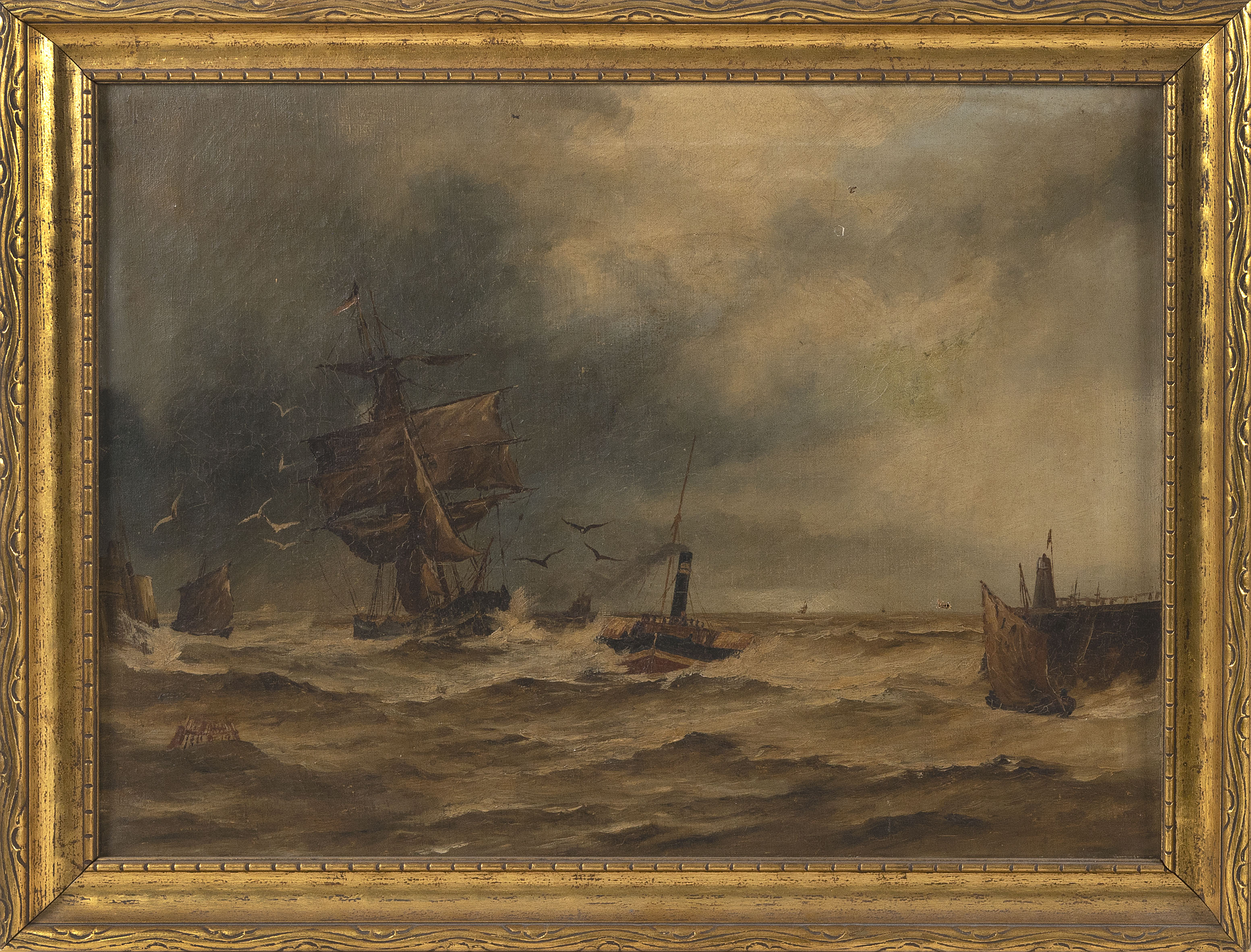 "MARITIME PAINTING OF A HARBOR ENTRANCE 19th Century Oil on canvas, 18"" x 24"". Framed 21.5"" x 27.5"""