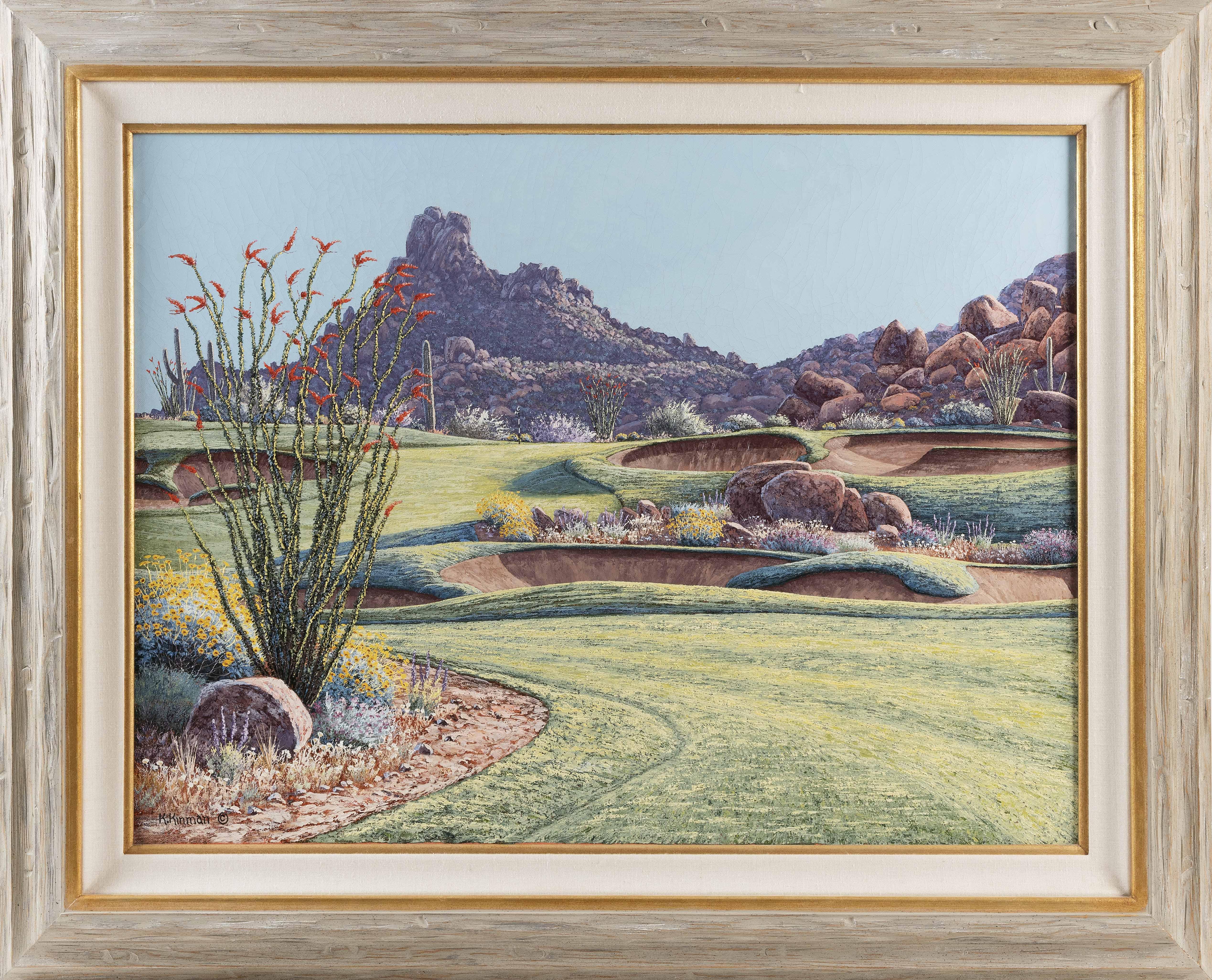 KERRY KINMAN (Oregon, 1946-2008), True North 18th Hole., Oil on canvas, 30