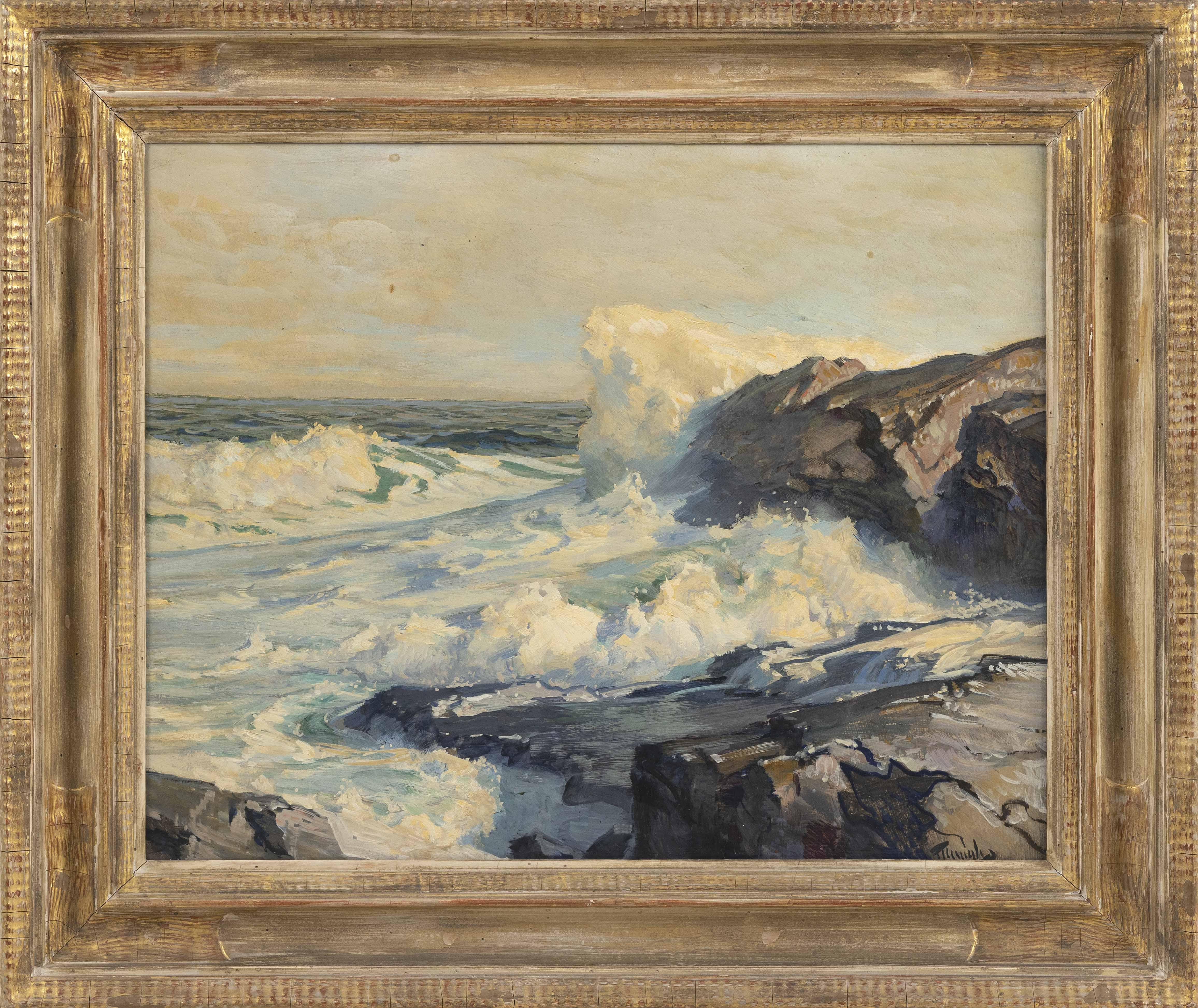 FREDERICK JUDD WAUGH (New York/Massachusetts, 1861-1940), Crashing waves., Oil on board, 16