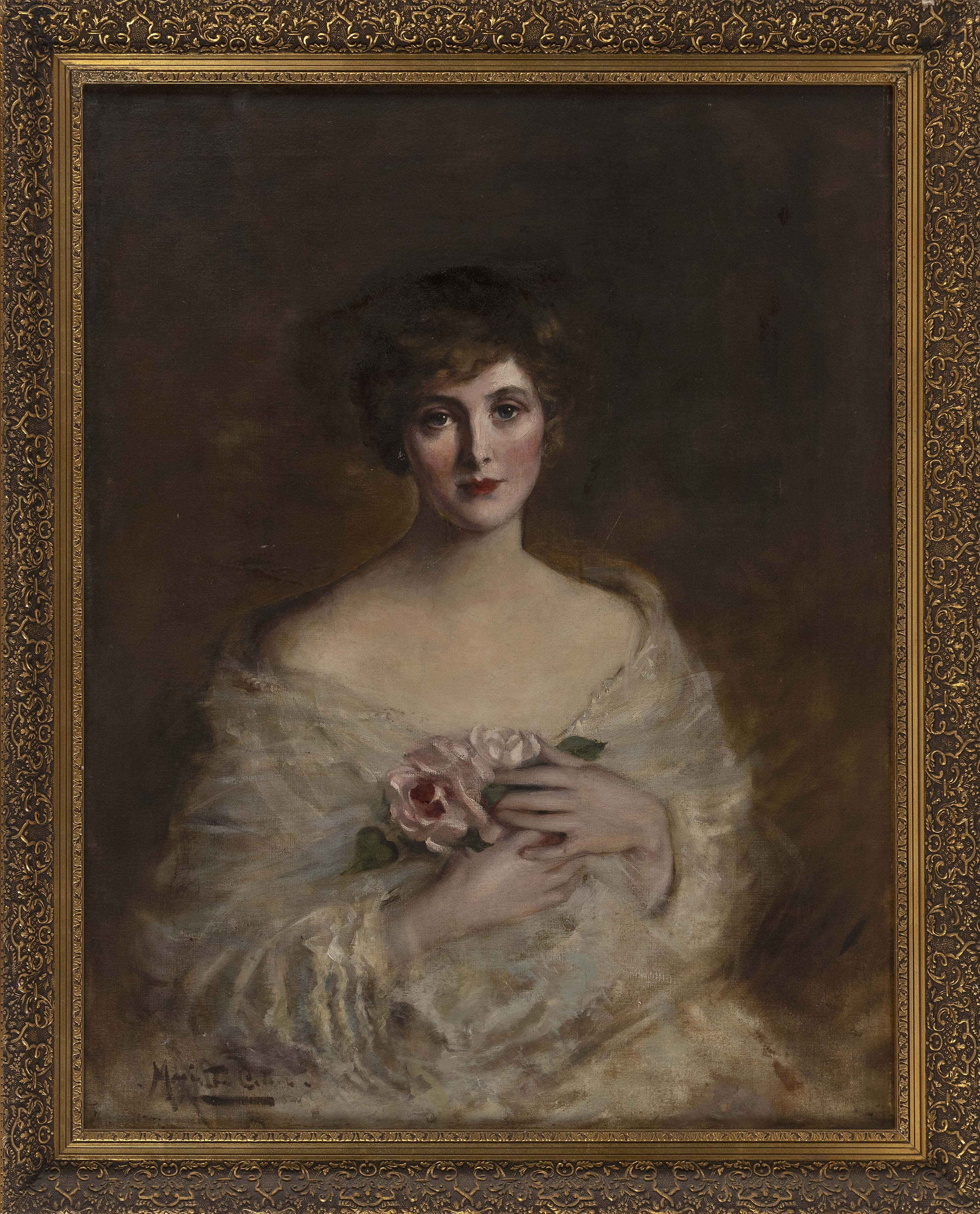 MARIETTA COTTON (New York, 1860-1926), Portrait of a young woman holding flowers., Oil on canvas, 36