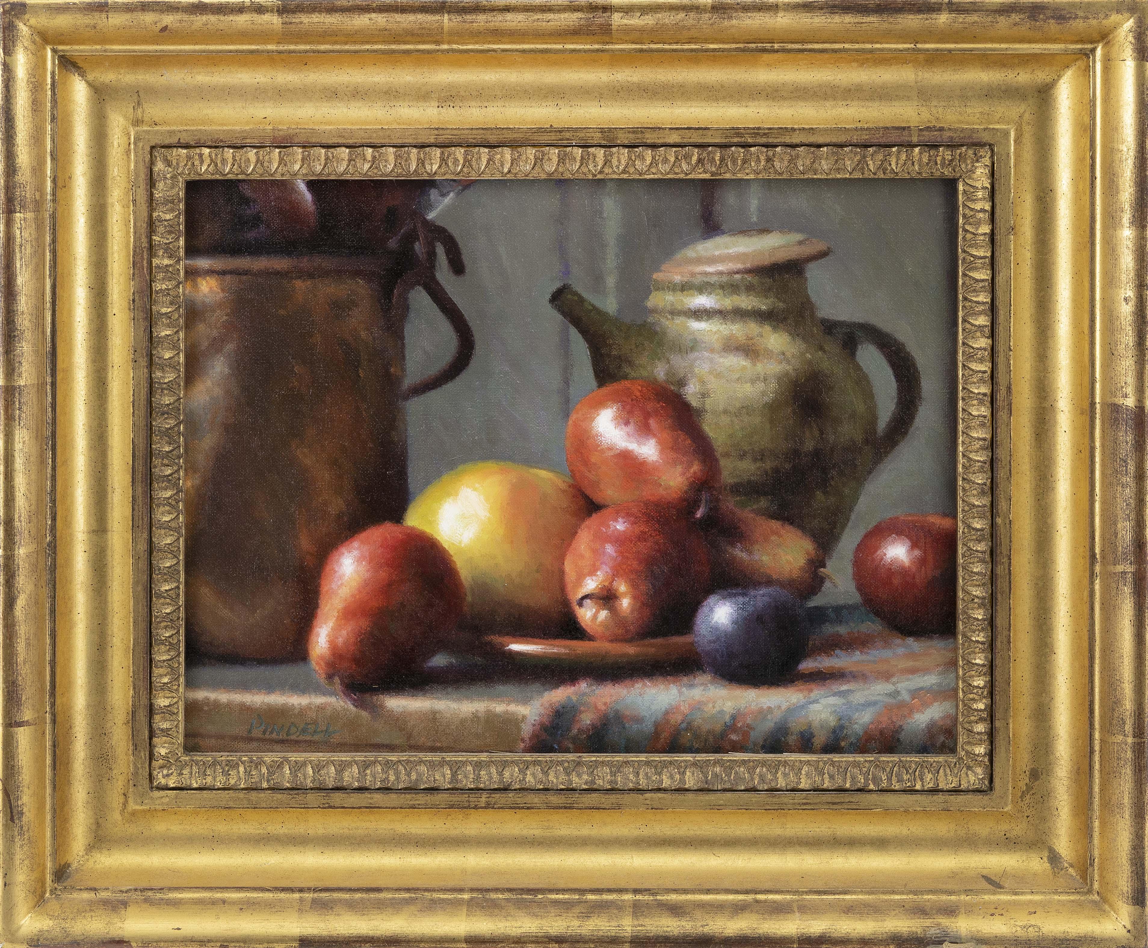 PAMELA PINDELL (Massachusetts, Contemporary), Still life of apples., Oil on canvas, 12