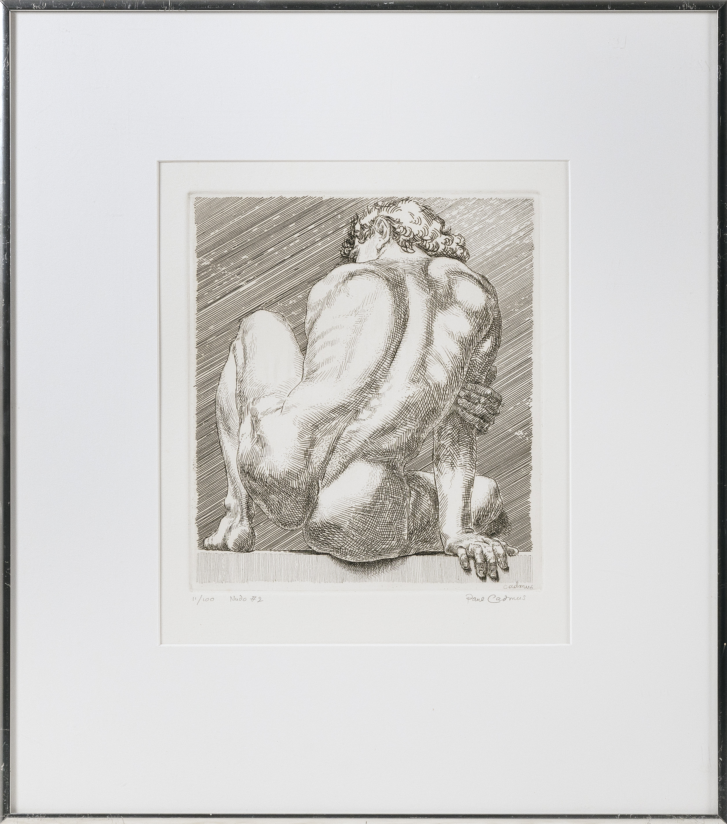 """PAUL CADMUS (Connecticut, 1904-1999), """"Nudo #2""""., Etching on paper, 9"""" x 8"""" sight. Framed 18.75"""" x 16.75""""."""