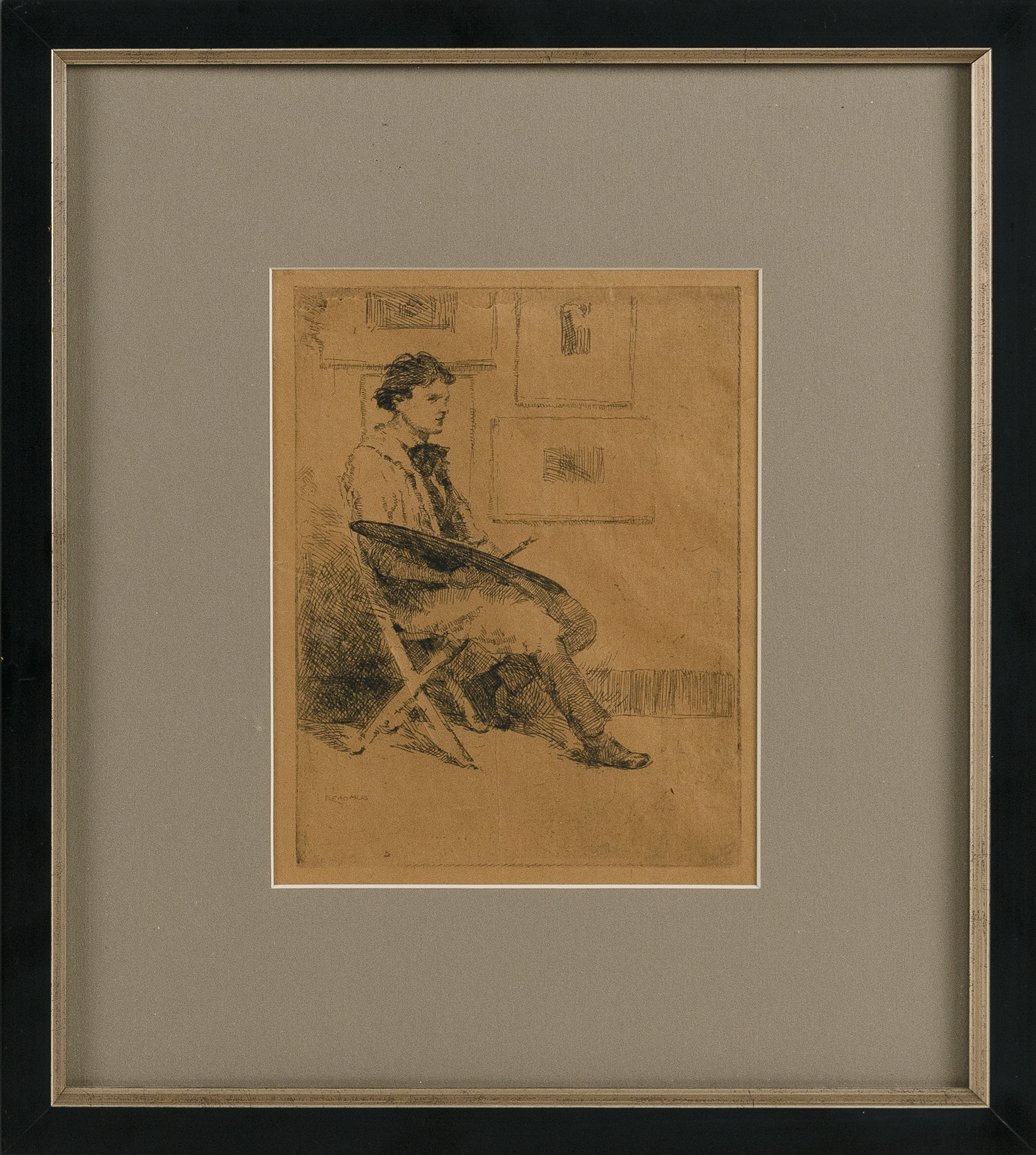 PAUL CADMUS (Connecticut, 1904-1999), Artist with palette., Etching on paper