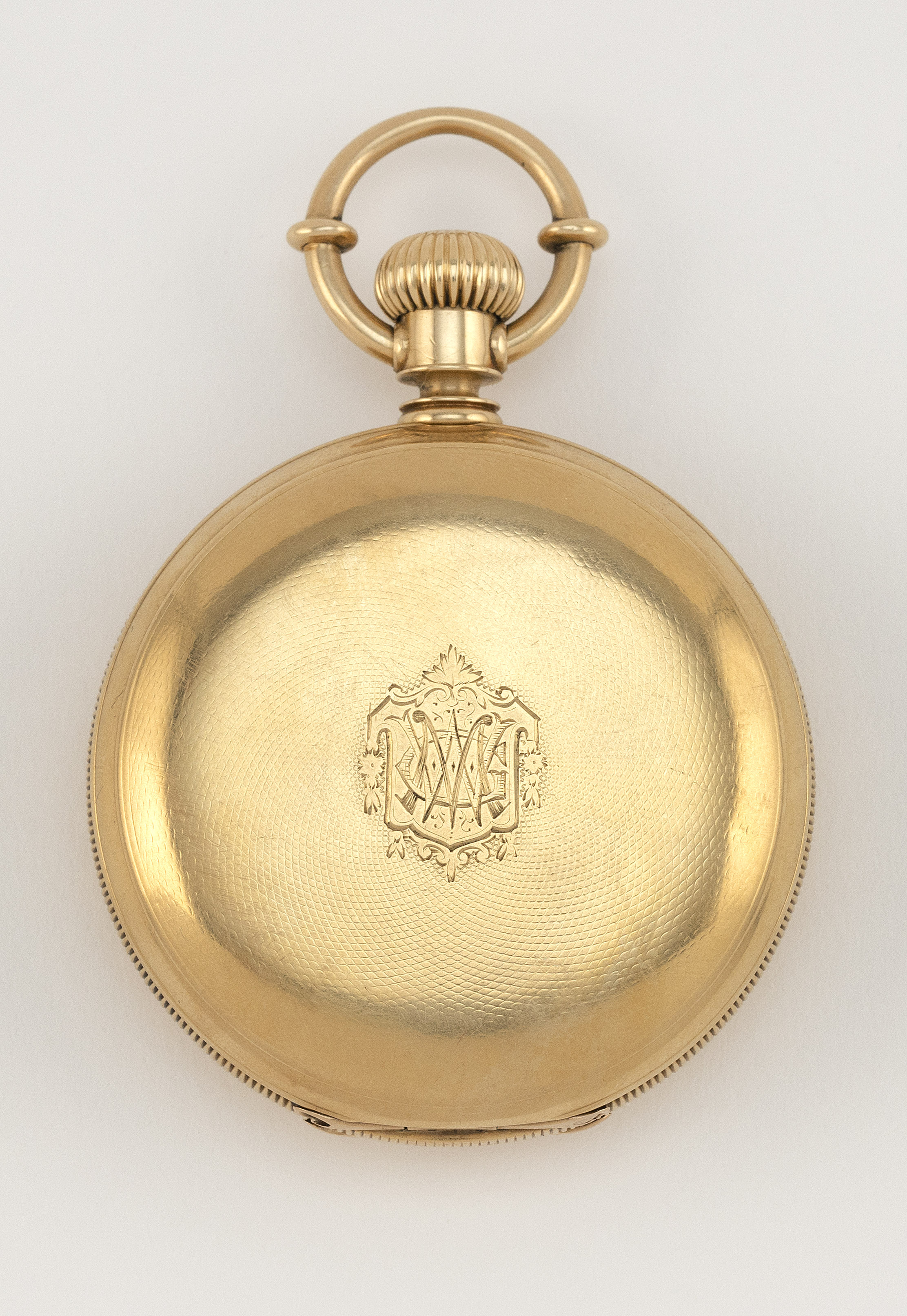 """AMERICAN WATCH CO. 18KT GOLD CASED POCKET WATCH 1876 Diameter of case 2"""". Total weight 87.06 dwt."""