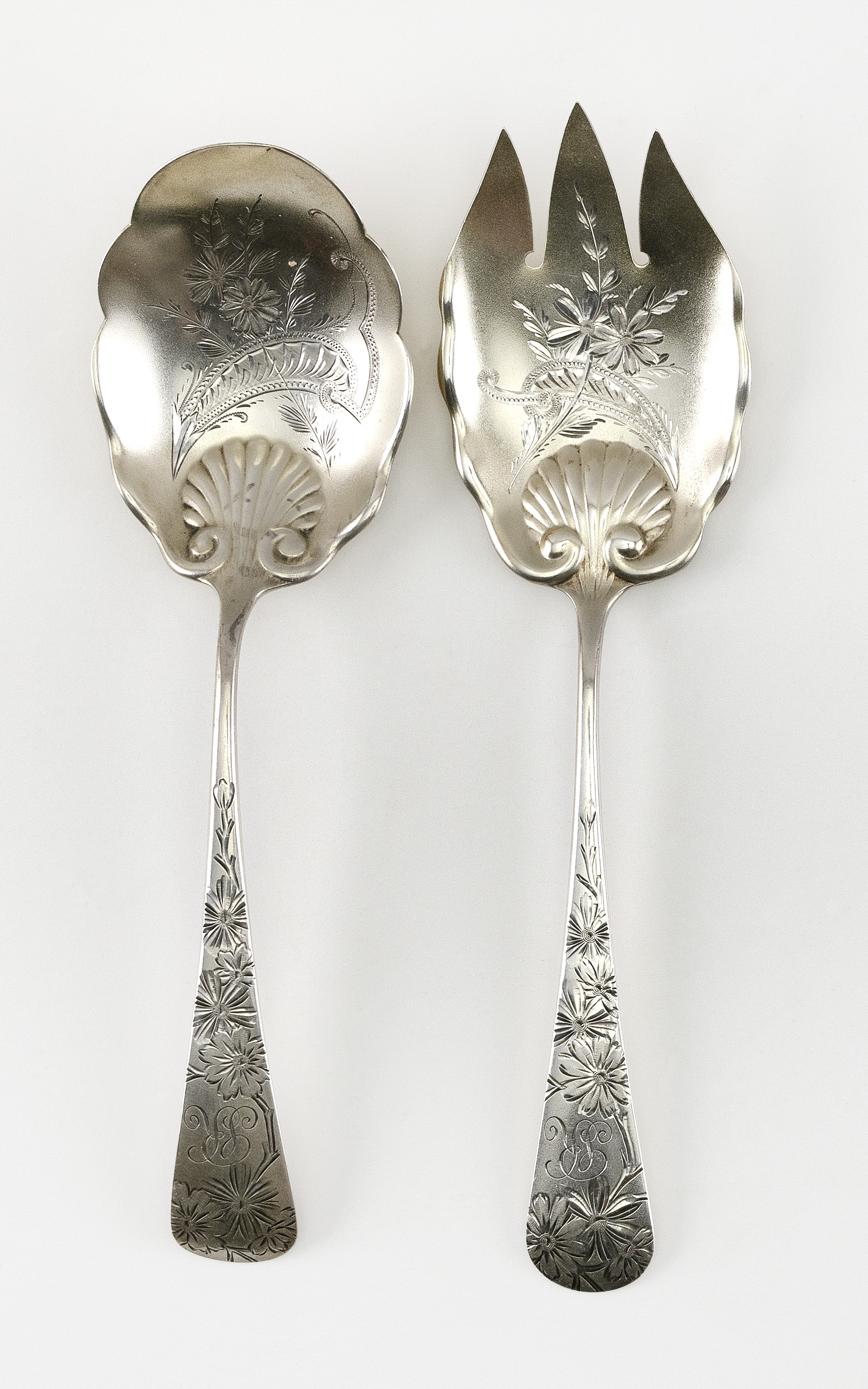 """GORHAM """"CHRYSANTHEMUM"""" STERLING SILVER SALAD-SERVING FORK AND SPOON Providence, Rhode Island, Circa 1885 Approx. 3.8 troy oz."""