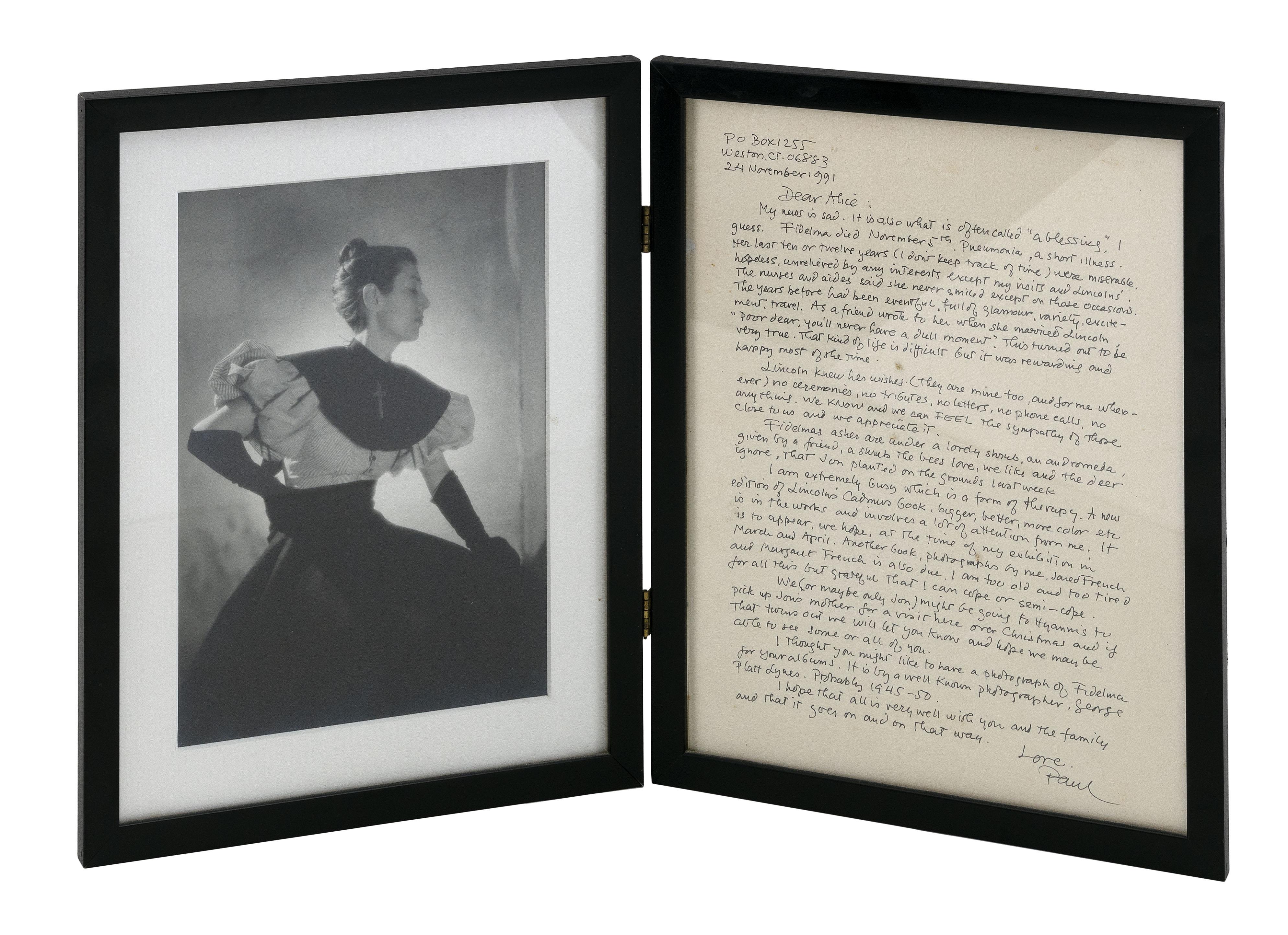 "GEORGE PLATT LYNES (New York/New Jersey, 1907-1955), ""Fidelma""., 8.75"" x 6.75"" sight. Framed 12"" x 19"" when open."