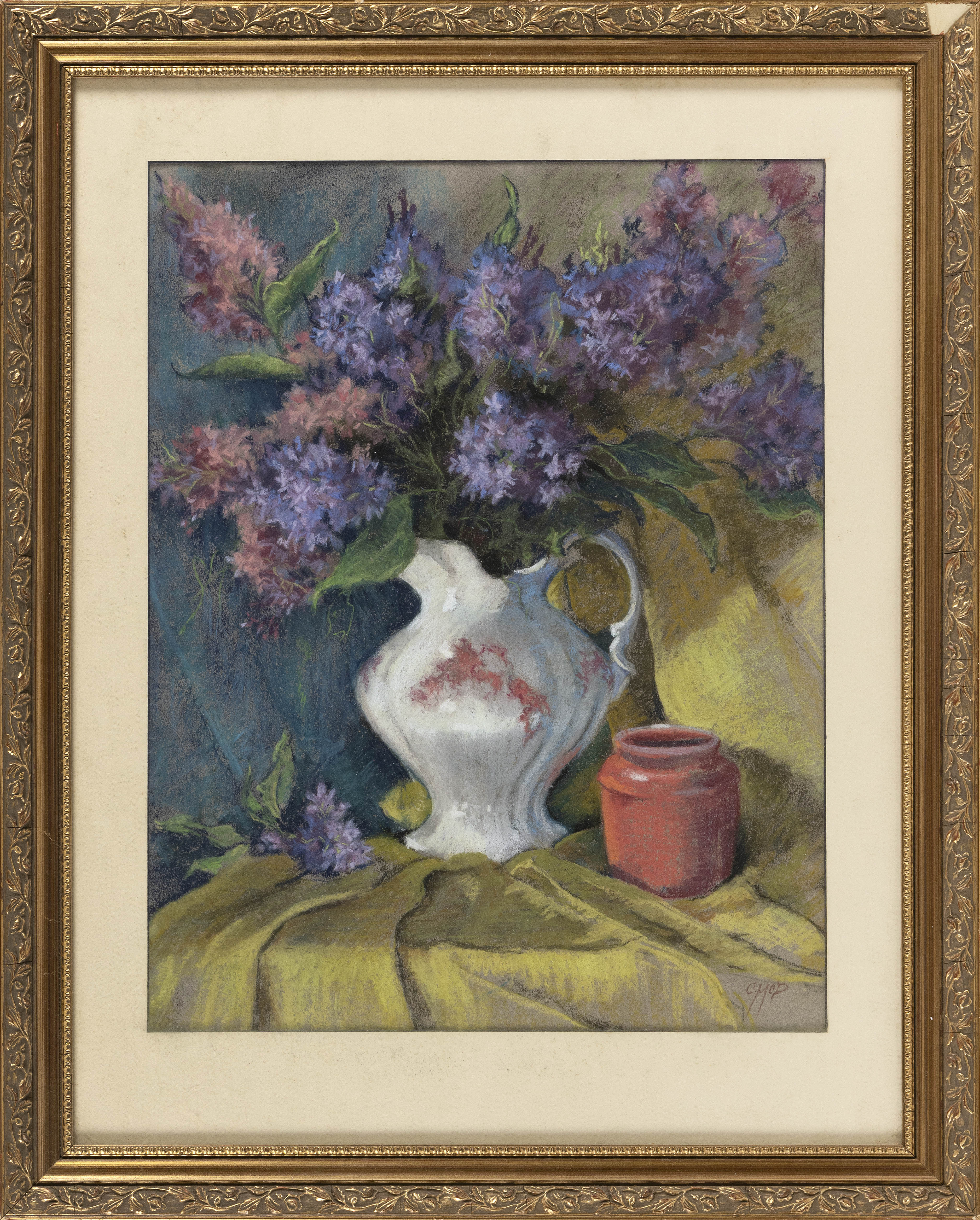 "CHERYL MCDONALD (Connecticut, Contemporary), Floral still life., Pastel on paper, 18"" x 14"" sight. Framed 25.5"" x 20.5""."