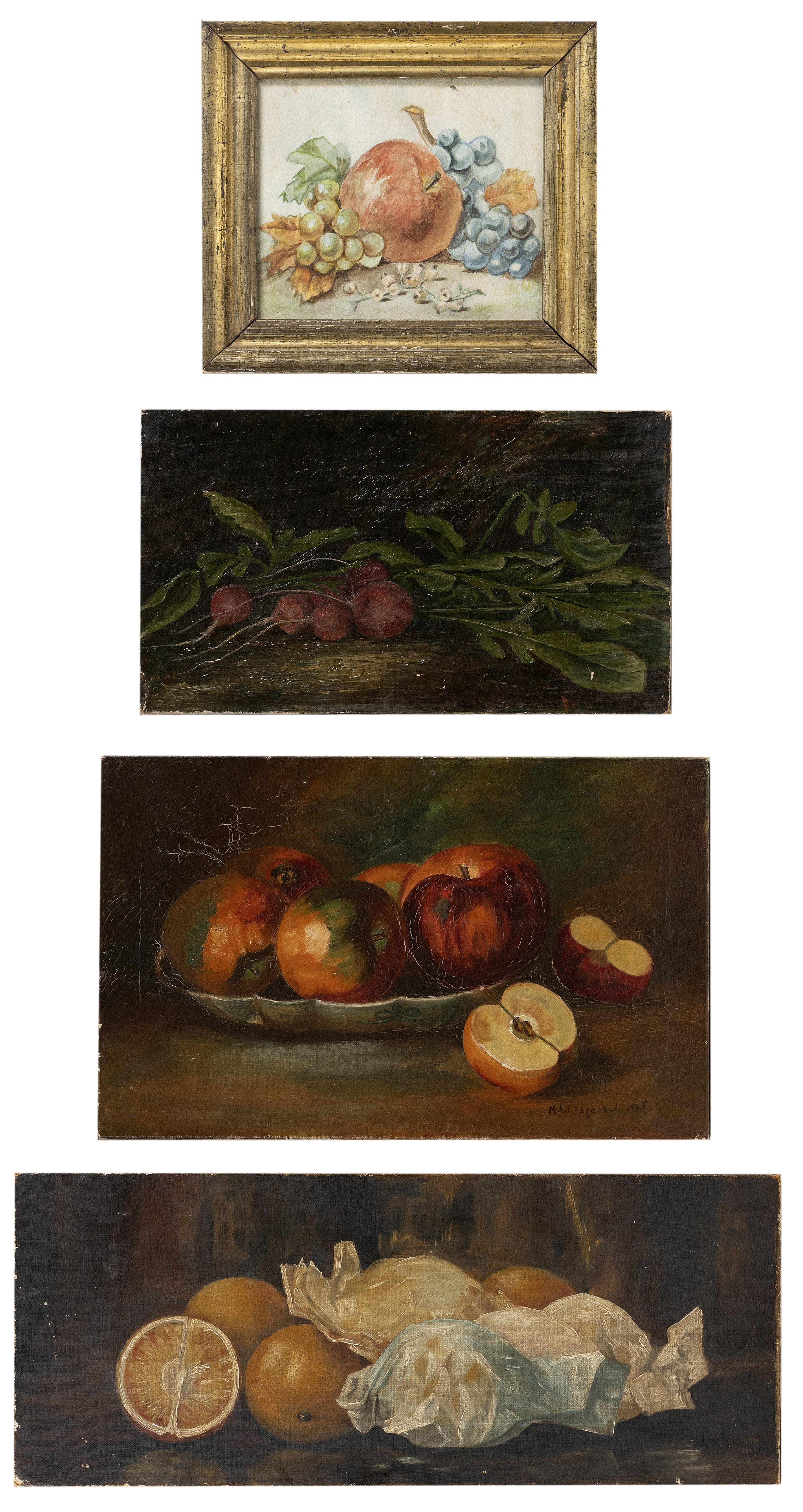 Image 1 for AMERICAN SCHOOL (Late 19th/Early 20th Century,), Four still lifes of fruit and vegetables